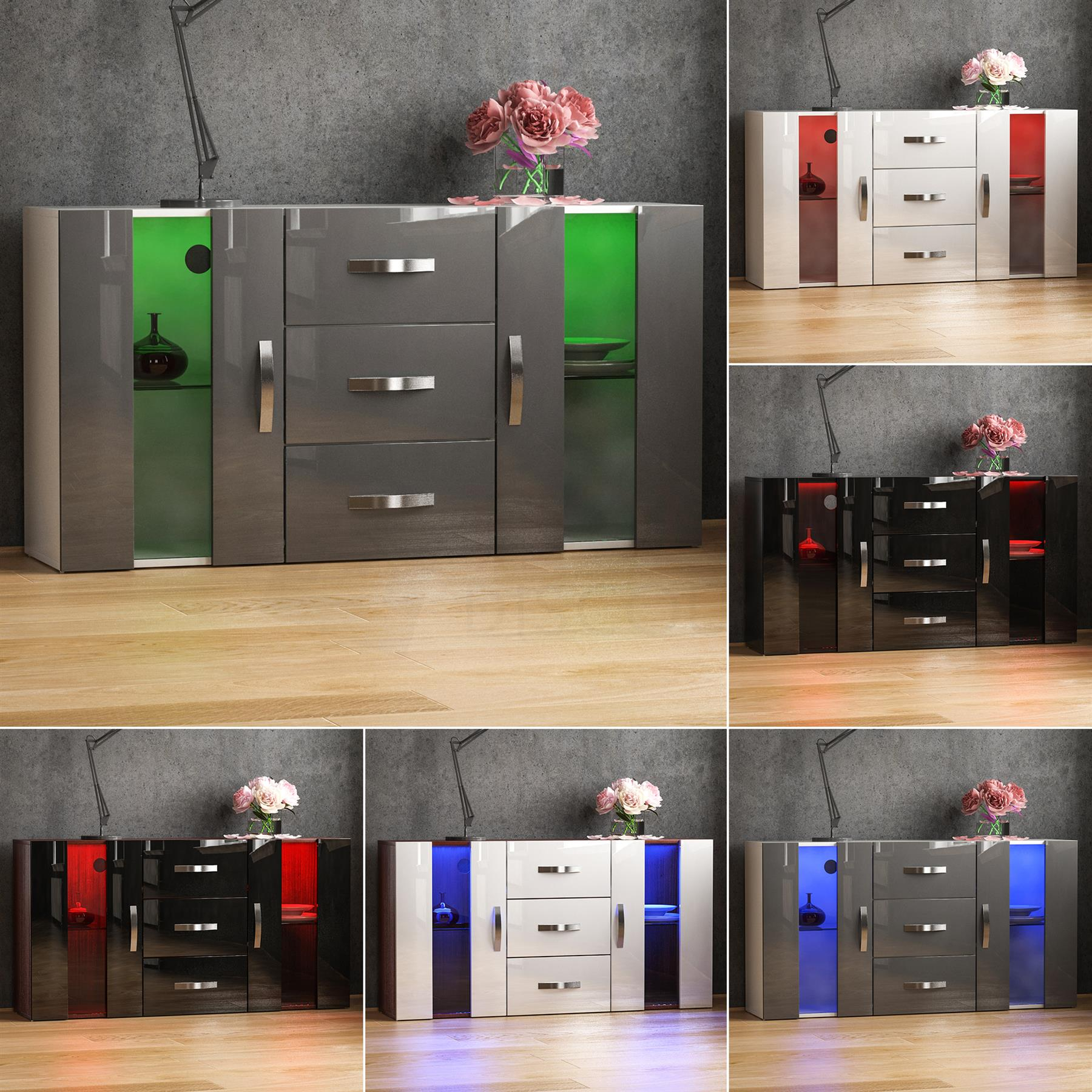 Details About Astro Led Sideboard 2 Door 3 Drawer Buffet Storage Cabinet Cupboard High Gloss Throughout 3 Drawer Storage Buffets (Gallery 6 of 30)