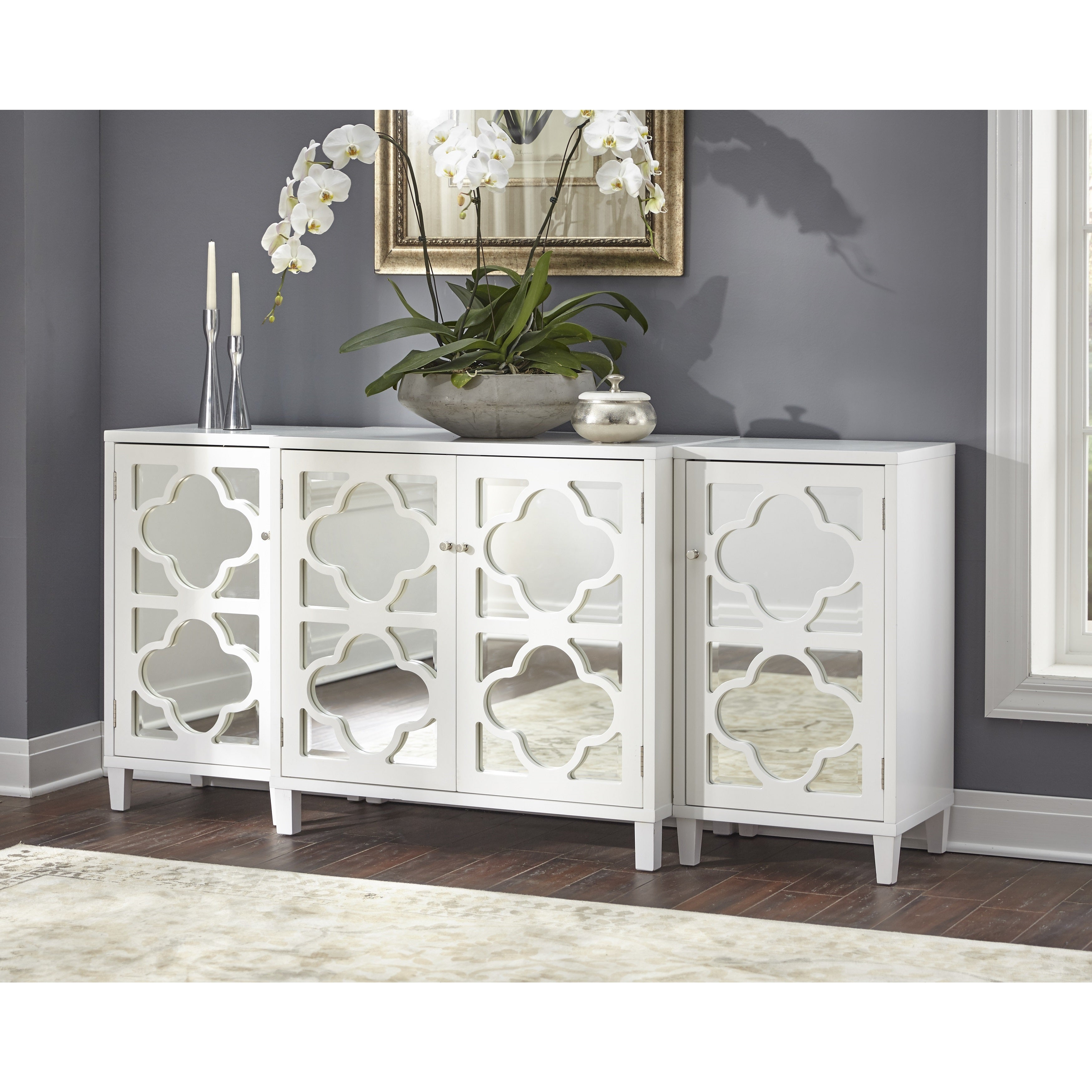 Details About Buffet Storage Cabinet Sideboard Entryway Tv Stand 3 Pcs Set  Mirrored Furniture Intended For Mirrored Double Door Buffets (Photo 7 of 30)