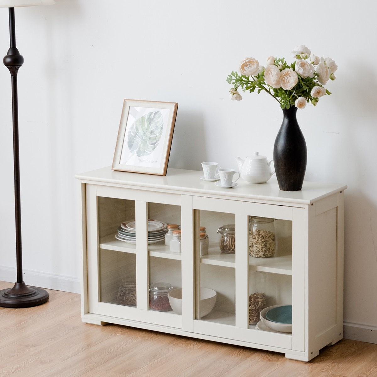 Details About China Cabinet Hutch Stackable Storage Buffet Sliding Glass  Doors Curio White Us Throughout Glass Sliding Door Stackable Buffets (Photo 6 of 30)