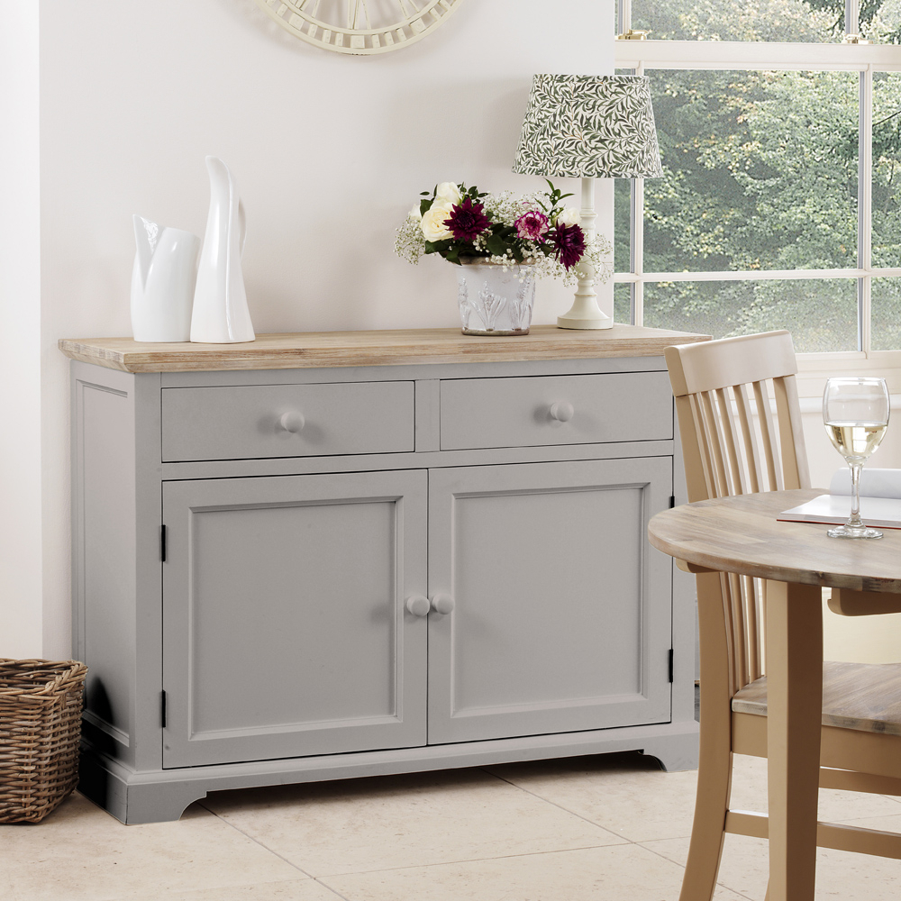 Details About Florence Dove Grey Sideboard, Large Kitchen Cupboard With Acacia Top, Assembled For White And Grey Sideboards (Gallery 12 of 30)