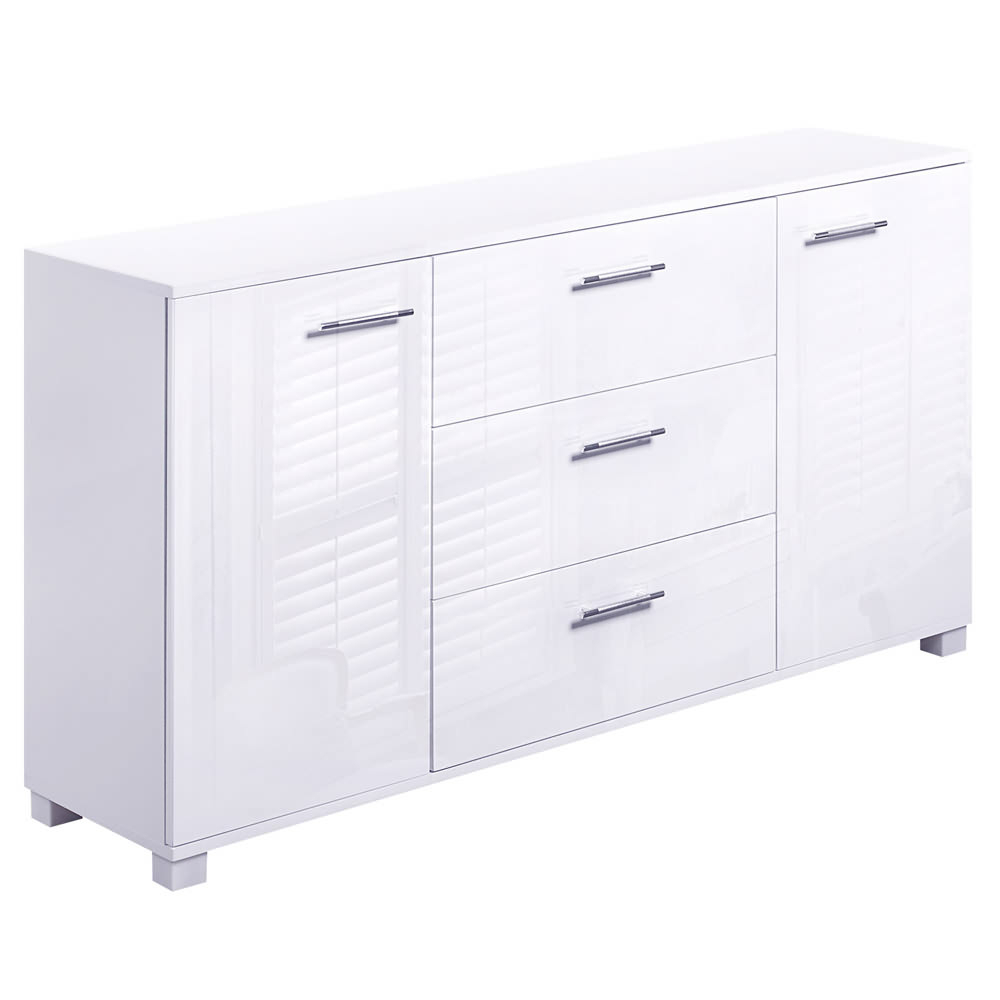 Details About High Gloss Buffet Sideboard Cabinet 2 Door 3 Drawer Storage  Cupboard White in 3-Drawer Black Storage Buffets (Image 17 of 30)