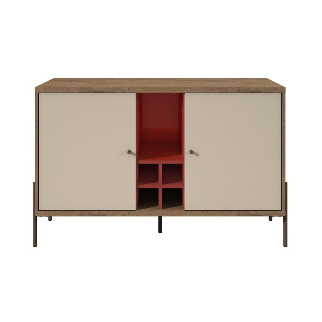 Details About Manhattan Comfort Joy 4 Bottle Wine Buffet Stand In Red And With Regard To Modern Red Buffets (Gallery 10 of 30)