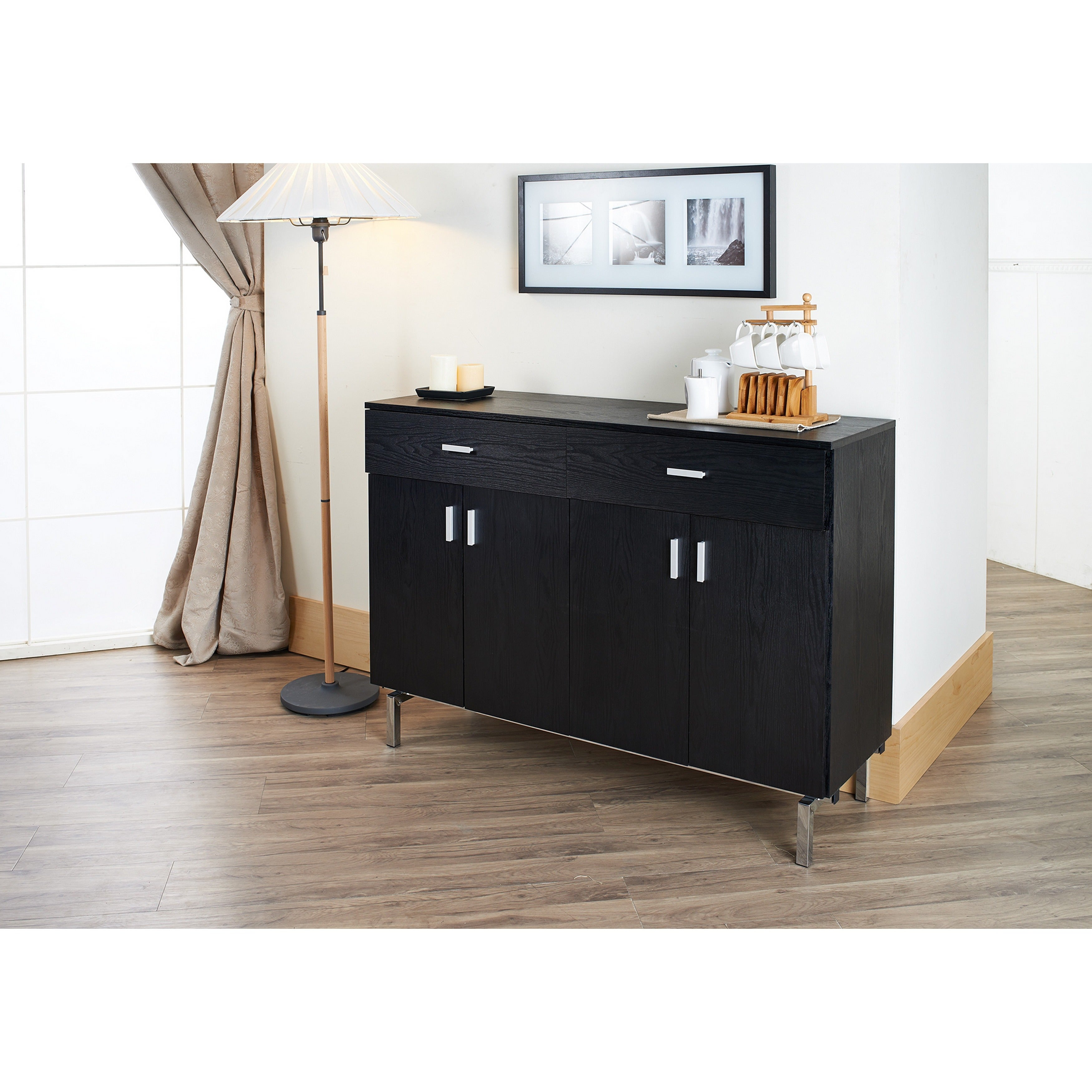 Details About Mason Contemporary Black Buffetfoa With Regard To Carrera Contemporary Black Dining Buffets (Gallery 21 of 30)