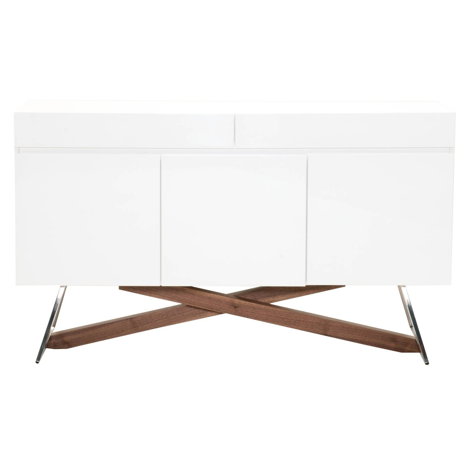 Details About Mid Century Modern Buffet With Wooden Base Glossy White And White With Regard To Mid Century Modern Glossy White Buffets (Gallery 1 of 30)