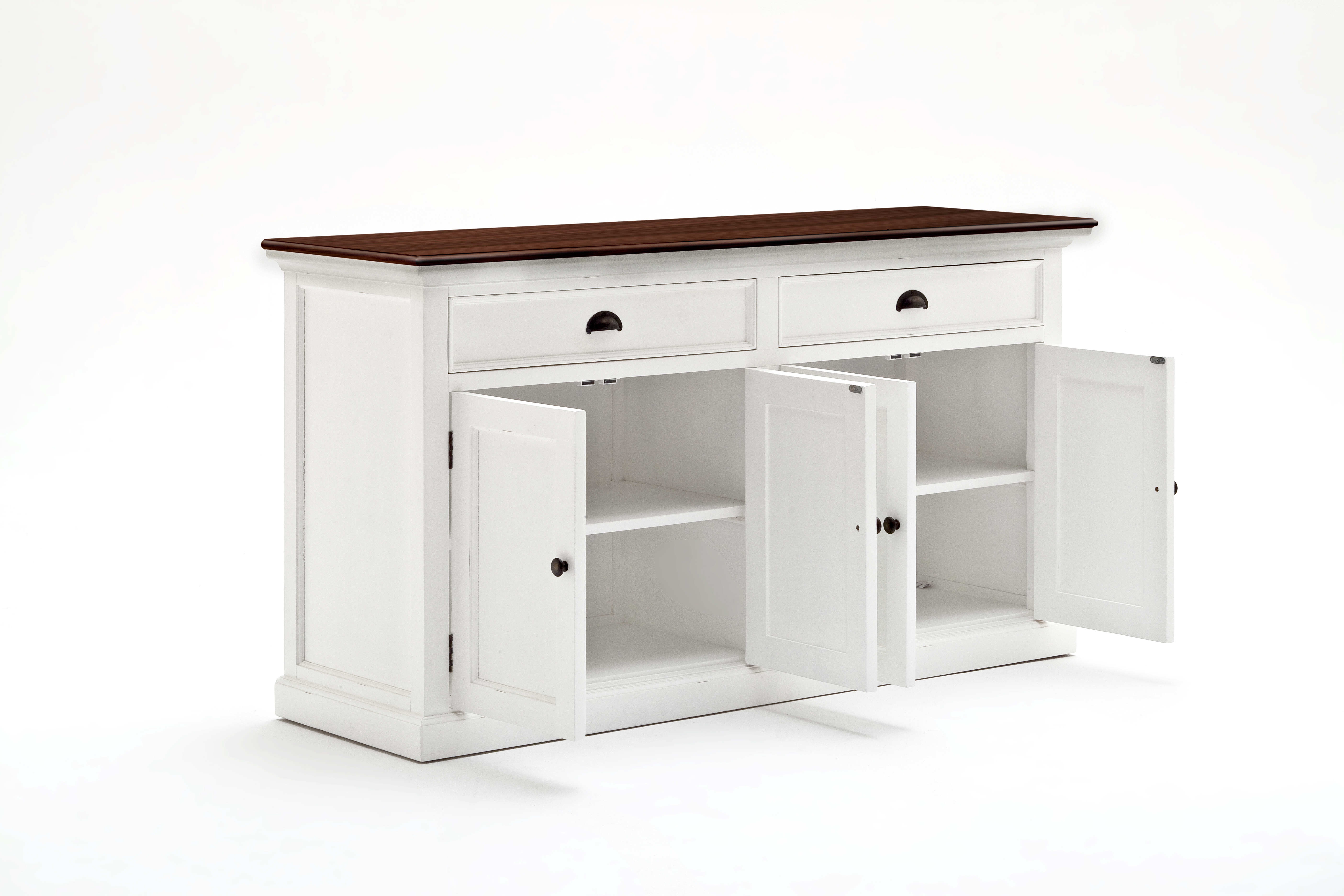 Details About Nova Solo Halifax Accent Solid Wood White & Mahogany Top  Buffet With 2 Drawers Pertaining To Grey Wooden Accent Buffets (Photo 11 of 30)