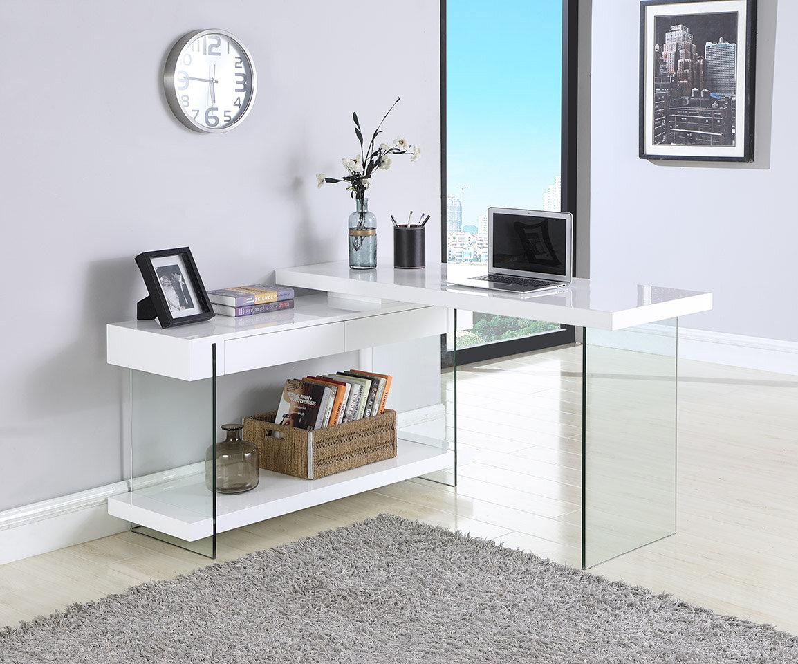 Details About Orren Ellis Hizer Glass Credenza Desk With Regard To Kieth 4 Door Credenzas (Photo 24 of 30)