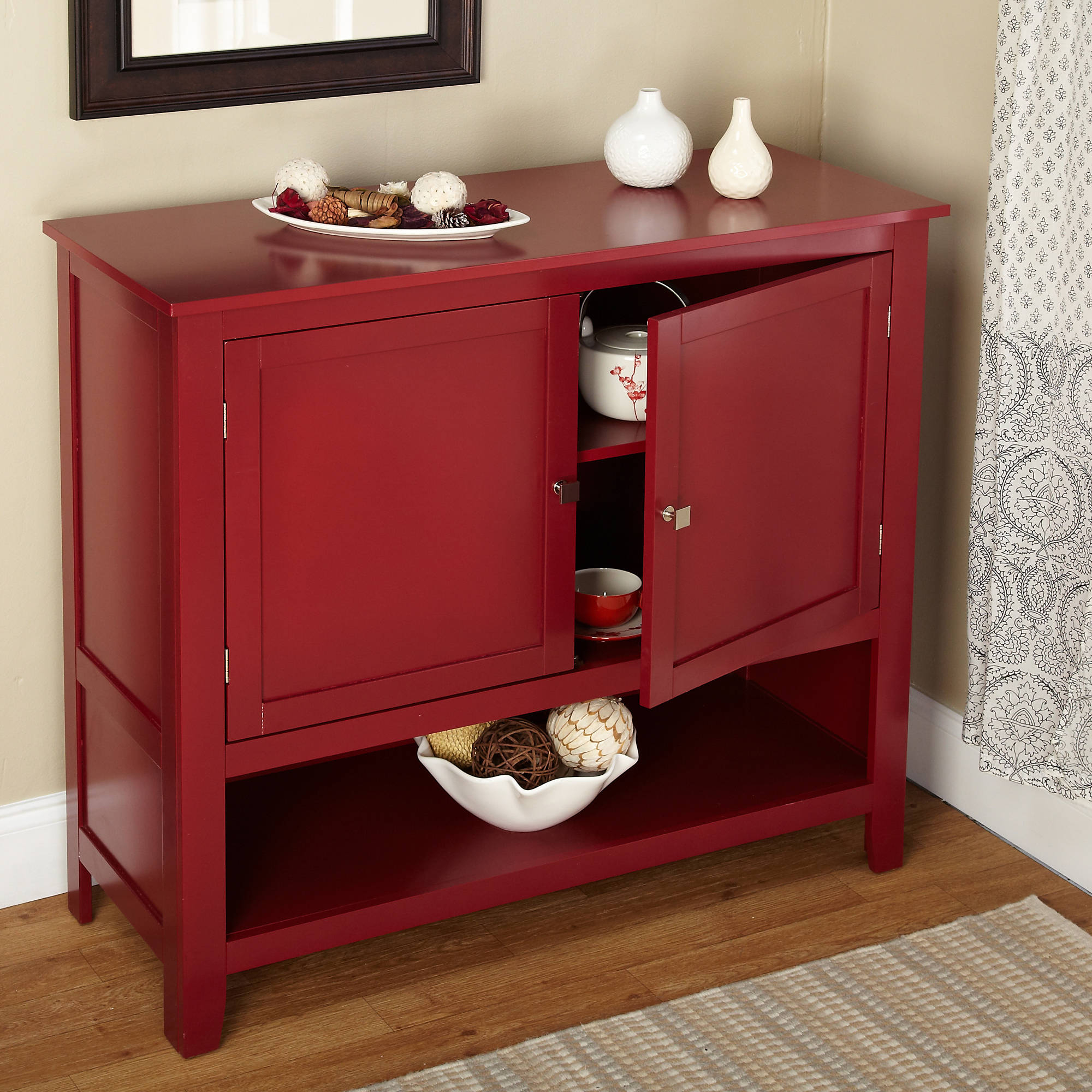 Details About Red Buffet Cabinet Kitchen Storage Shelf With Doors Table Furniture Dining Room Within Contemporary Wooden Buffets With One Side Door Storage Cabinets And Two Drawers (View 9 of 30)