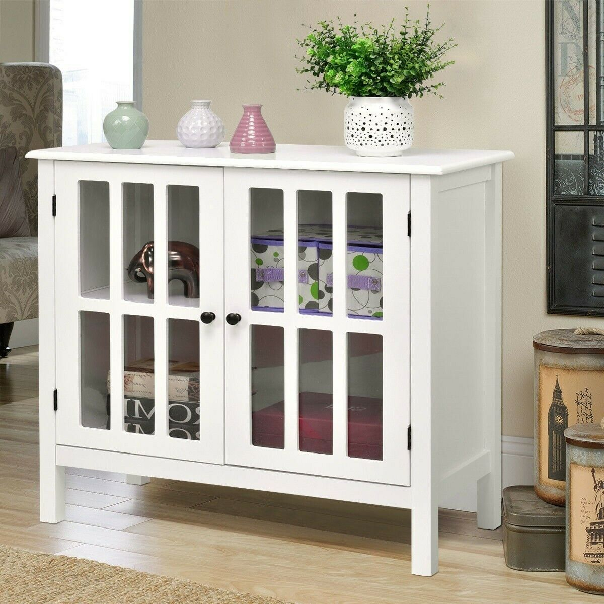 Details About Small Cabinet Floor Cupboard Wood Curio 2 Shelf Glass Door  Buffet Console Accent With Regard To Wooden Curio Buffets With Two Glass Doors (Photo 3 of 30)
