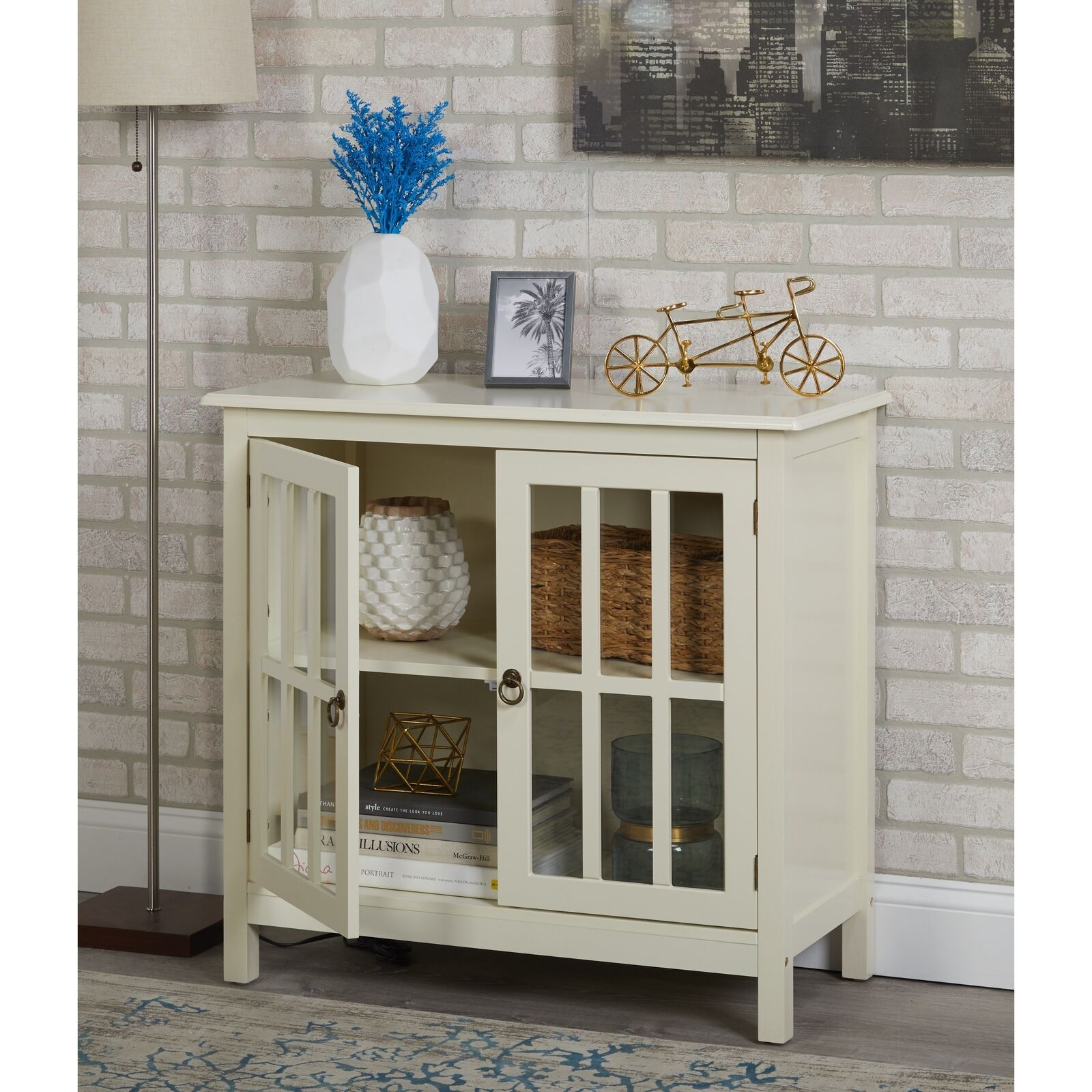 Details About Small Glass Door Cabinet Display Antique White Wood 2 Door 2  Shelf Curio Buffet Throughout Wooden Curio Buffets With Two Glass Doors (Photo 1 of 30)