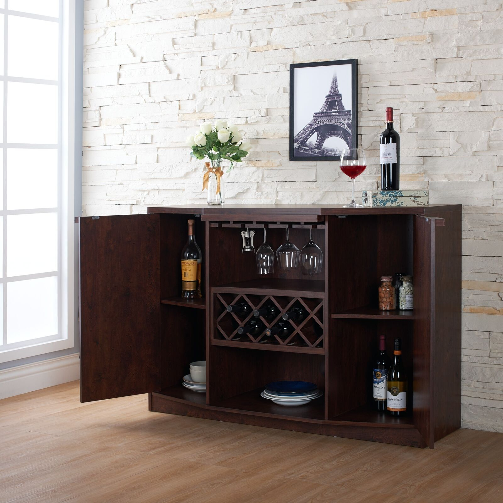 Details About Wine Bar Buffet Cabinet Bottle Rack Wood Storage Hutch Furniture Walnut Brown Intended For Buffets With Bottle And Glass Storage (Gallery 5 of 30)