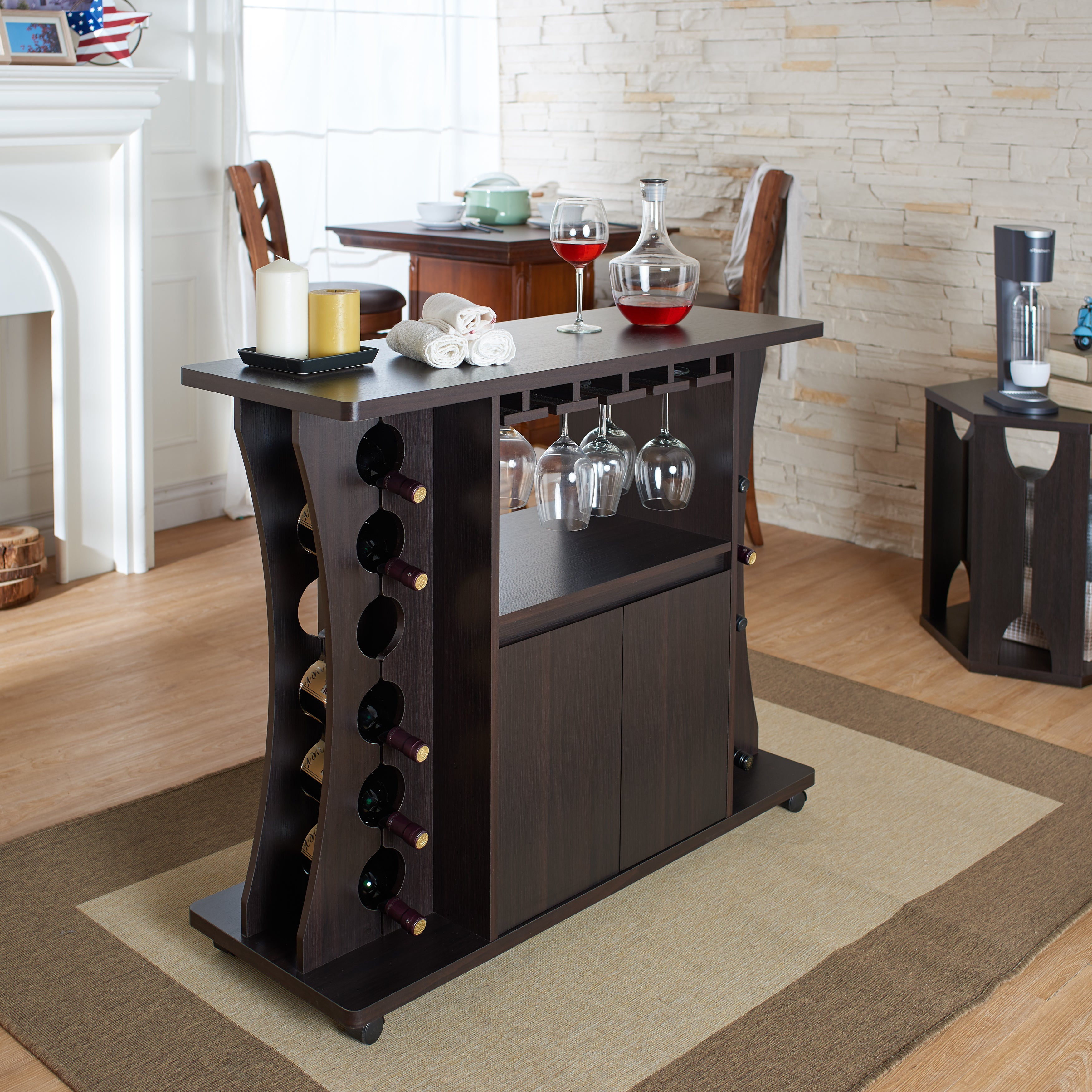 Details About Wine Bar Set 35.9X43.31X15.75 Glass Bottle Storage Wooden  Bottom Cabinet Wheeled Intended For Buffets With Bottle And Glass Storage (Photo 11 of 30)