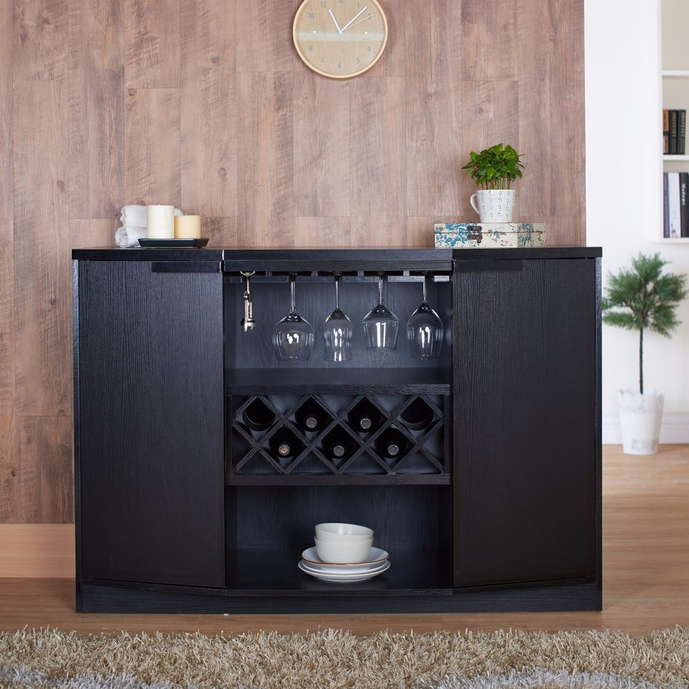 Details About Wine Storage Cabinet Rack Bar Kitchen Home Bar For Modern Black Storage Buffets (Photo 18 of 30)