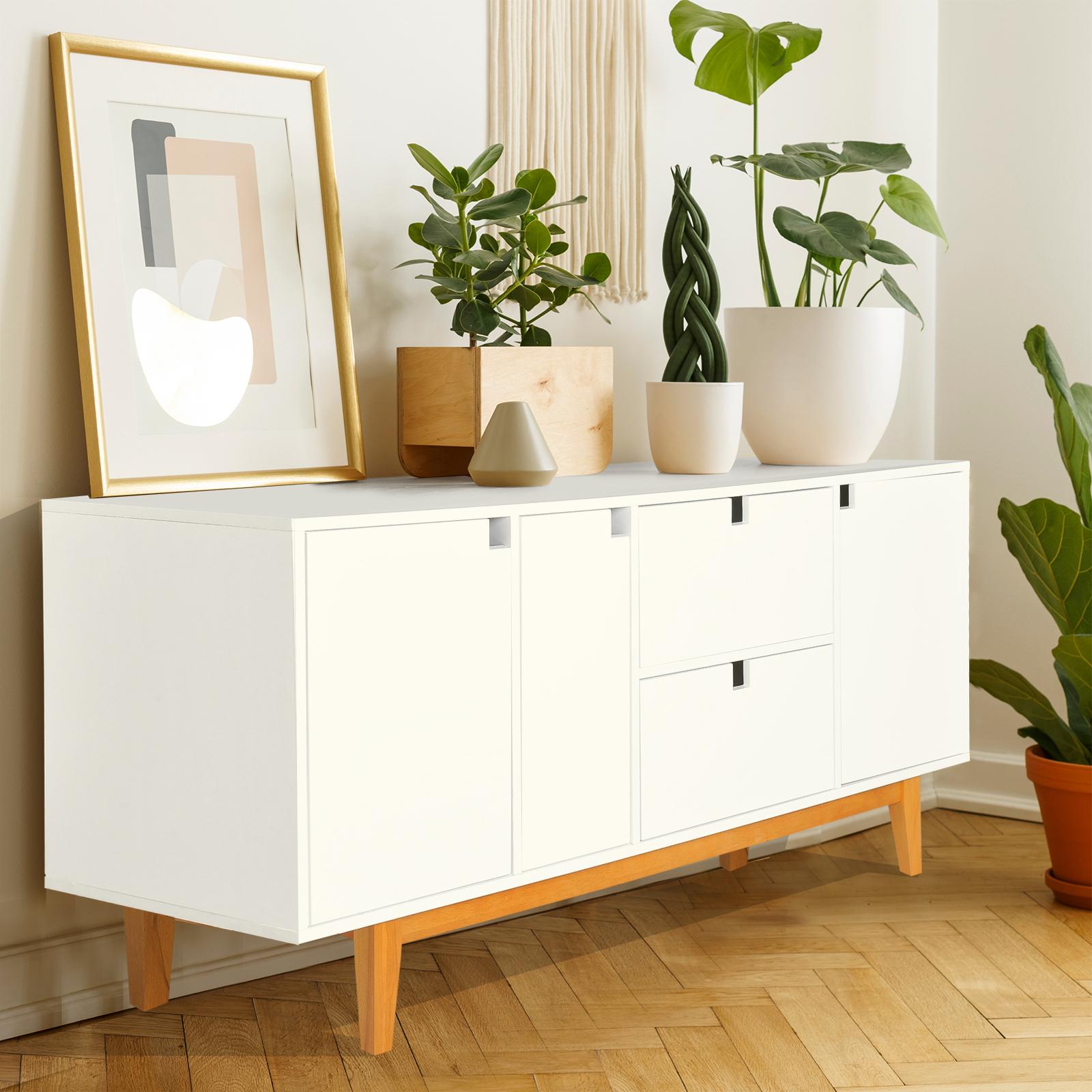 Details About Wood Buffet Sideboard Cabinet Storage Console Table With Drawers Shelves White Inside Modern Two Tone Buffets (Gallery 30 of 30)