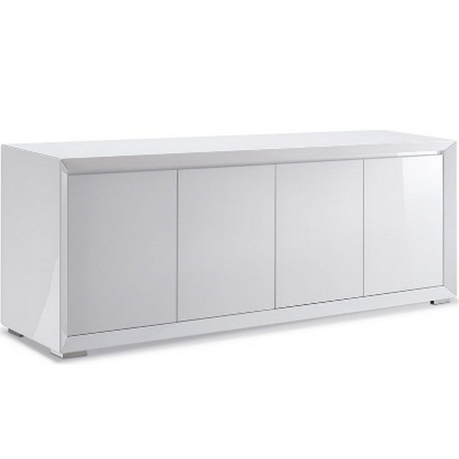Dining Room Furniture Sb1395 Wht Pendenza Buffet, 4 Door Mdf In High Gloss White And Polished Stainless Steel Body, With Matte Behind Doors Inside White Wood And Chrome Metal High Gloss Buffets (View 14 of 30)
