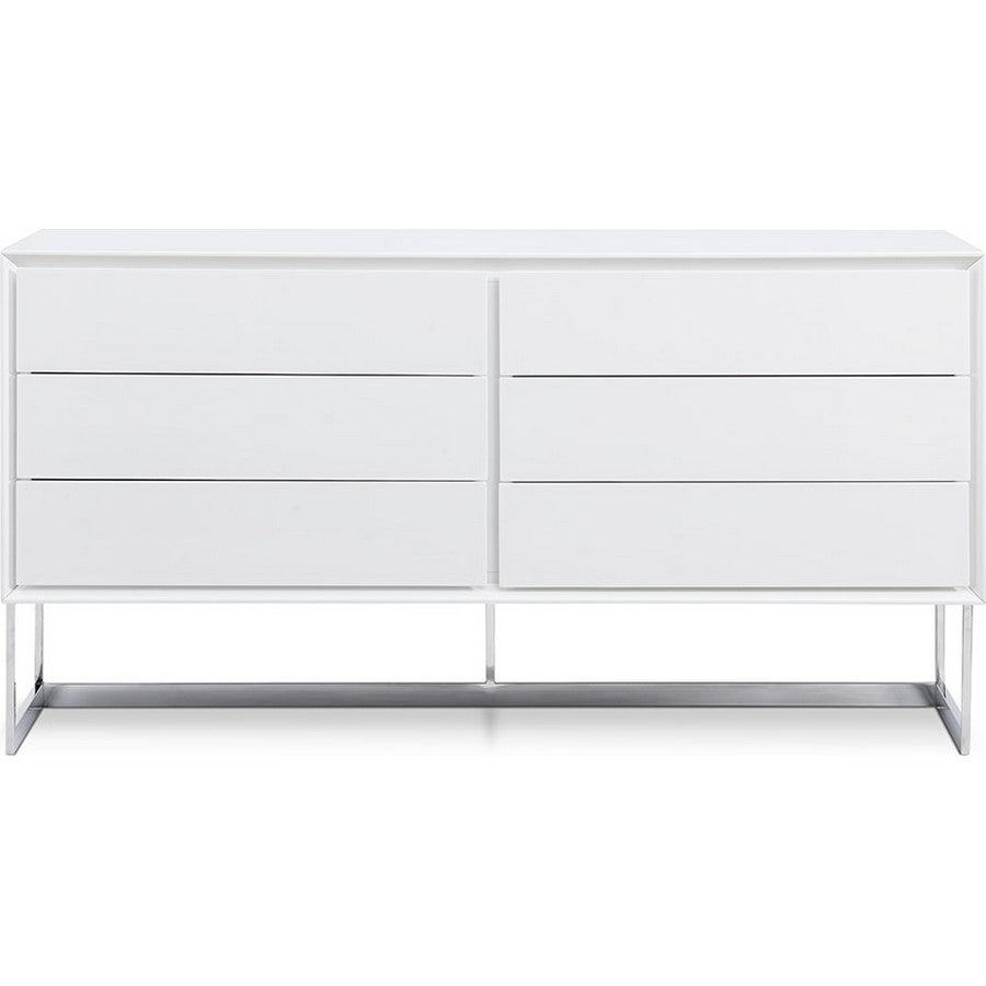 Dining Room Furniture Sb1405 Wht Skylar Buffet, High Gloss White, Polished Stainless Steel Legswhiteline Selections Inside White Wood And Chrome Metal High Gloss Buffets (View 9 of 30)