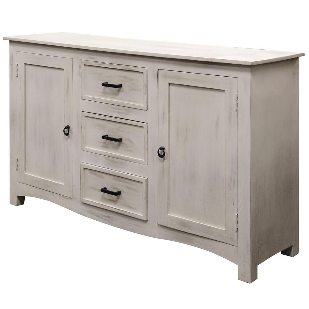 Distressed White Wash With Black Iron Hardware 2 Door And 3 Drawer Sideboard Within Rustic Black 2 Drawer Buffets (Photo 18 of 30)