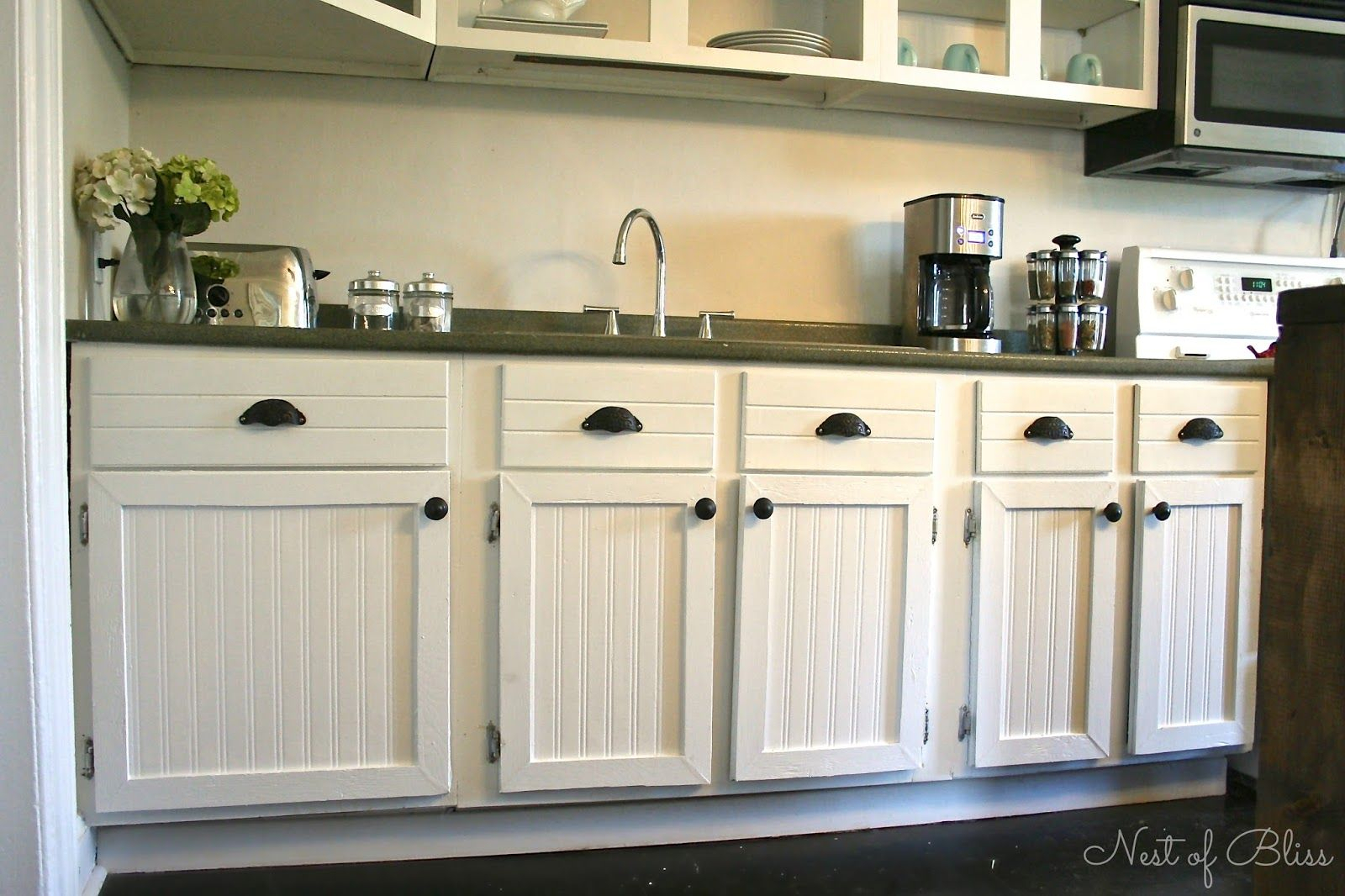 Diy Beadboard Wallpaper Cabinets – I Would Like To Do This For White Beadboard Buffets (Gallery 3 of 30)
