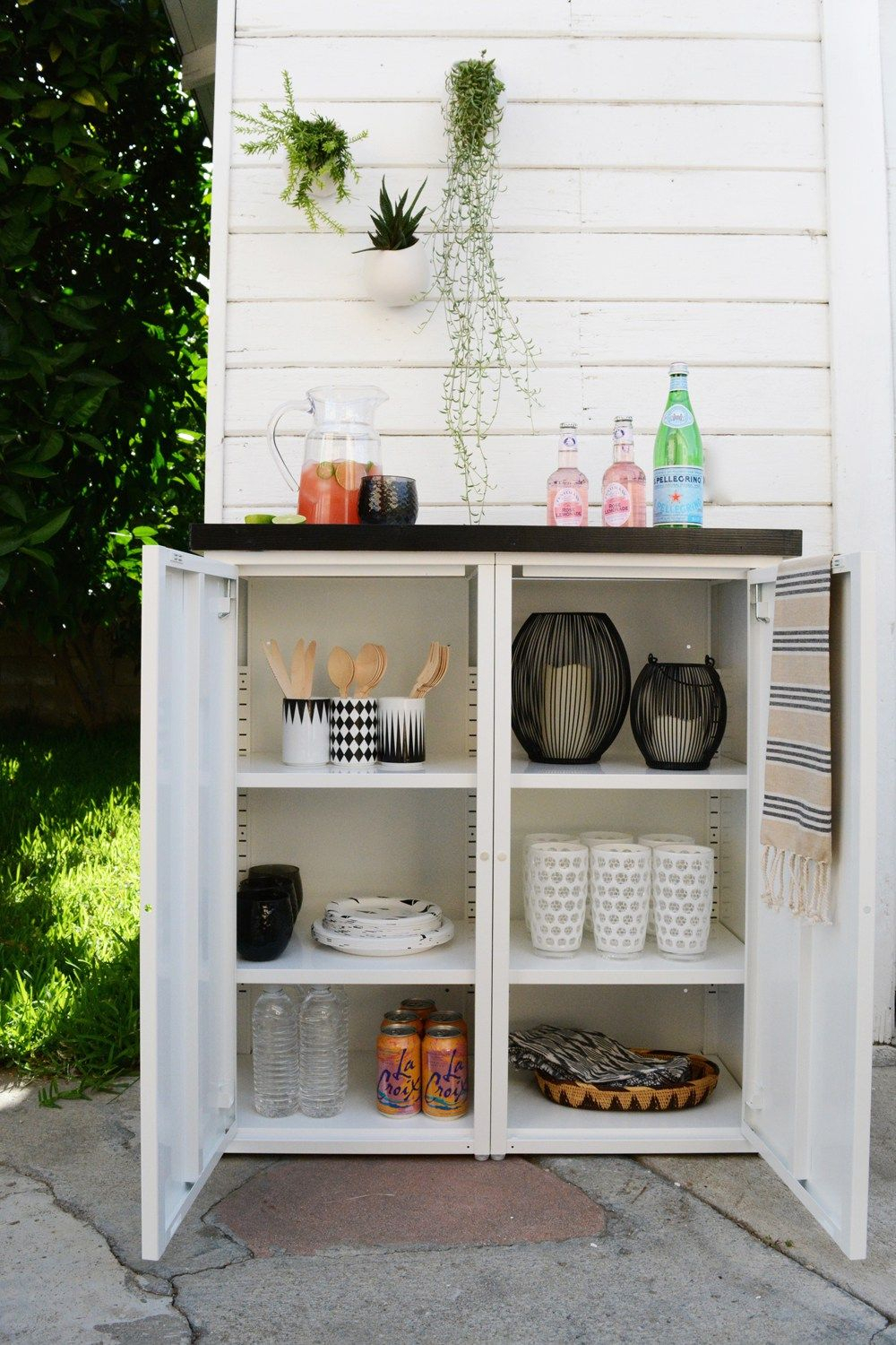 Diy Outdoor Buffet. 2 Ikea Metal Cabinets And A Custom Tiled Throughout Contemporary Espresso 2 Cabinet Dining Buffets (Photo 26 of 30)