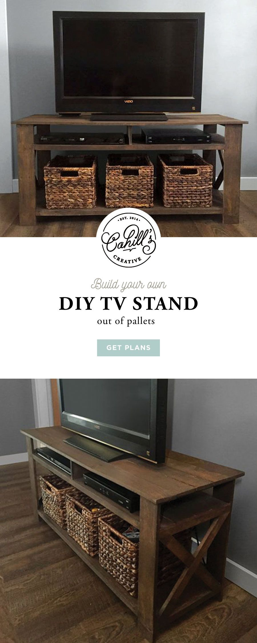"Diy Pallet Tv Stand Plans | Woodworking Plans, Diy Furniture Intended For Ericka Tv Stands For Tvs Up To 42"" (Gallery 18 of 30)"
