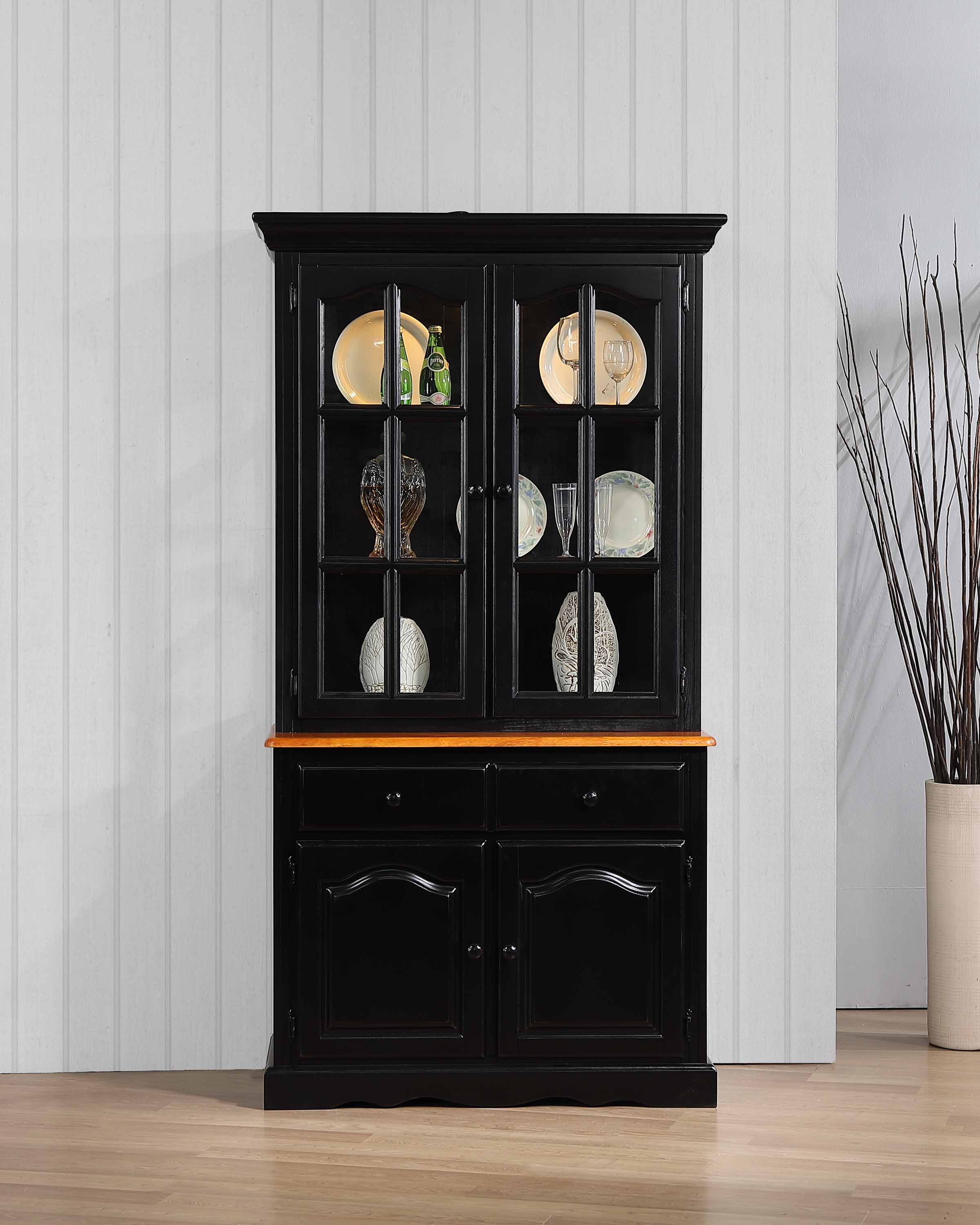 Dlu 19 Bh Bch | Keepsake Buffet And Lighted Hutch | Antique Inside Rustic Black 2 Drawer Buffets (Photo 25 of 30)