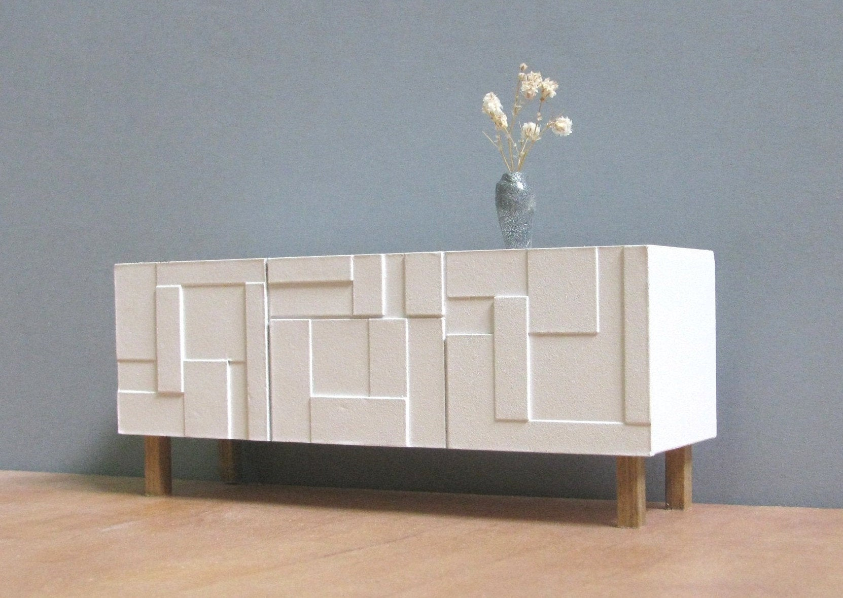 Dollhouse White Sideboard / Credenza, 1/18_1/12 Scale, Handmade Collectable Miniature Furniture, Modern Style Decor, Contemporary Design Intended For Floral Beauty Credenzas (Gallery 19 of 30)