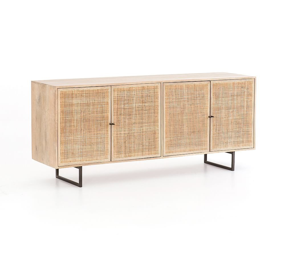 Dolores Cane Buffet Cabinet, Natural | Products In 2019 With Regard To Contemporary Wooden Buffets With Four Open Compartments And Metal Tapered Legs (View 8 of 30)
