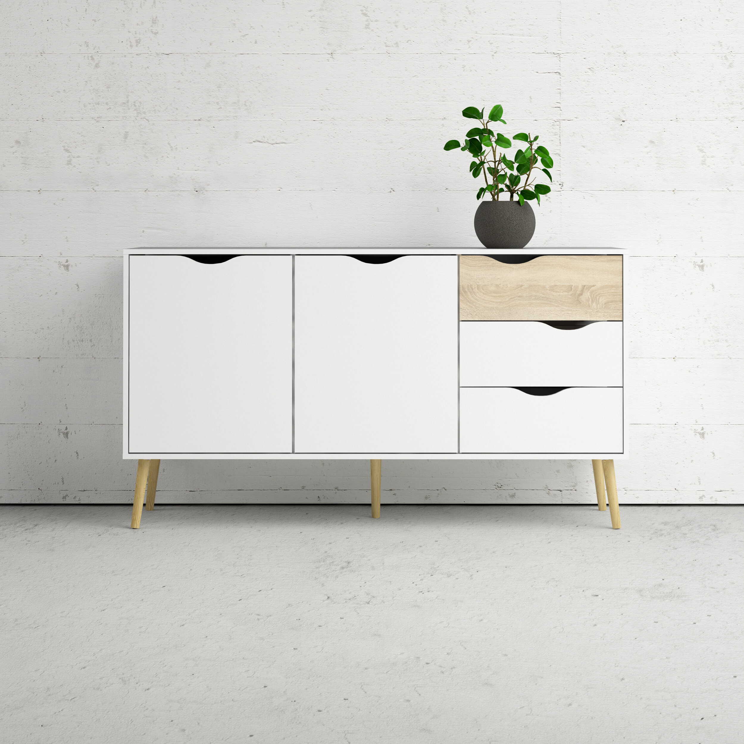 Dowler 2 Drawer Sideboard Within Keiko Modern Bookmatch Sideboards (Gallery 28 of 30)