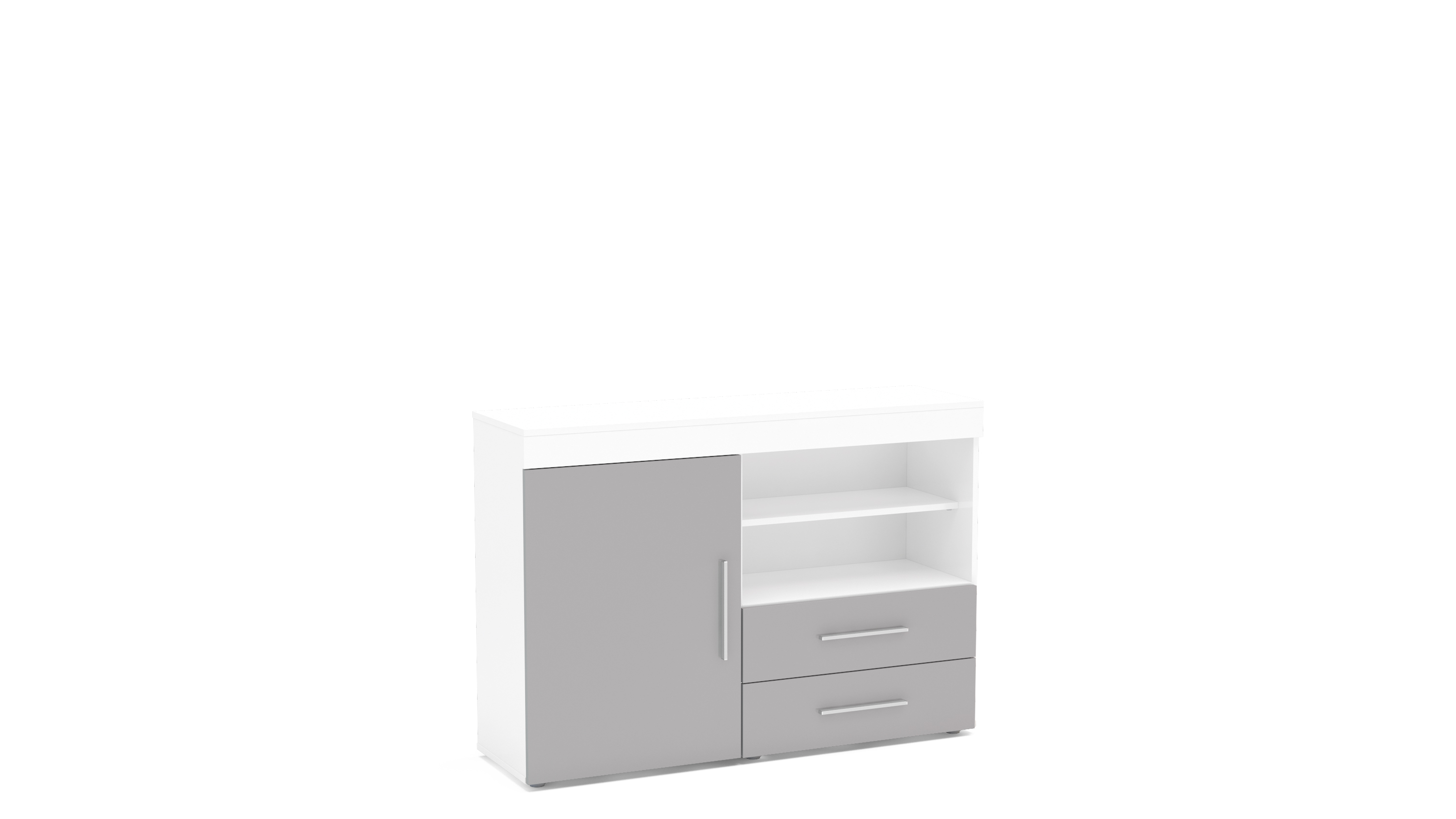 Edgeware 1 Door 2 Drawer Sideboard   White & Grey Throughout White And Grey Sideboards (Photo 24 of 30)
