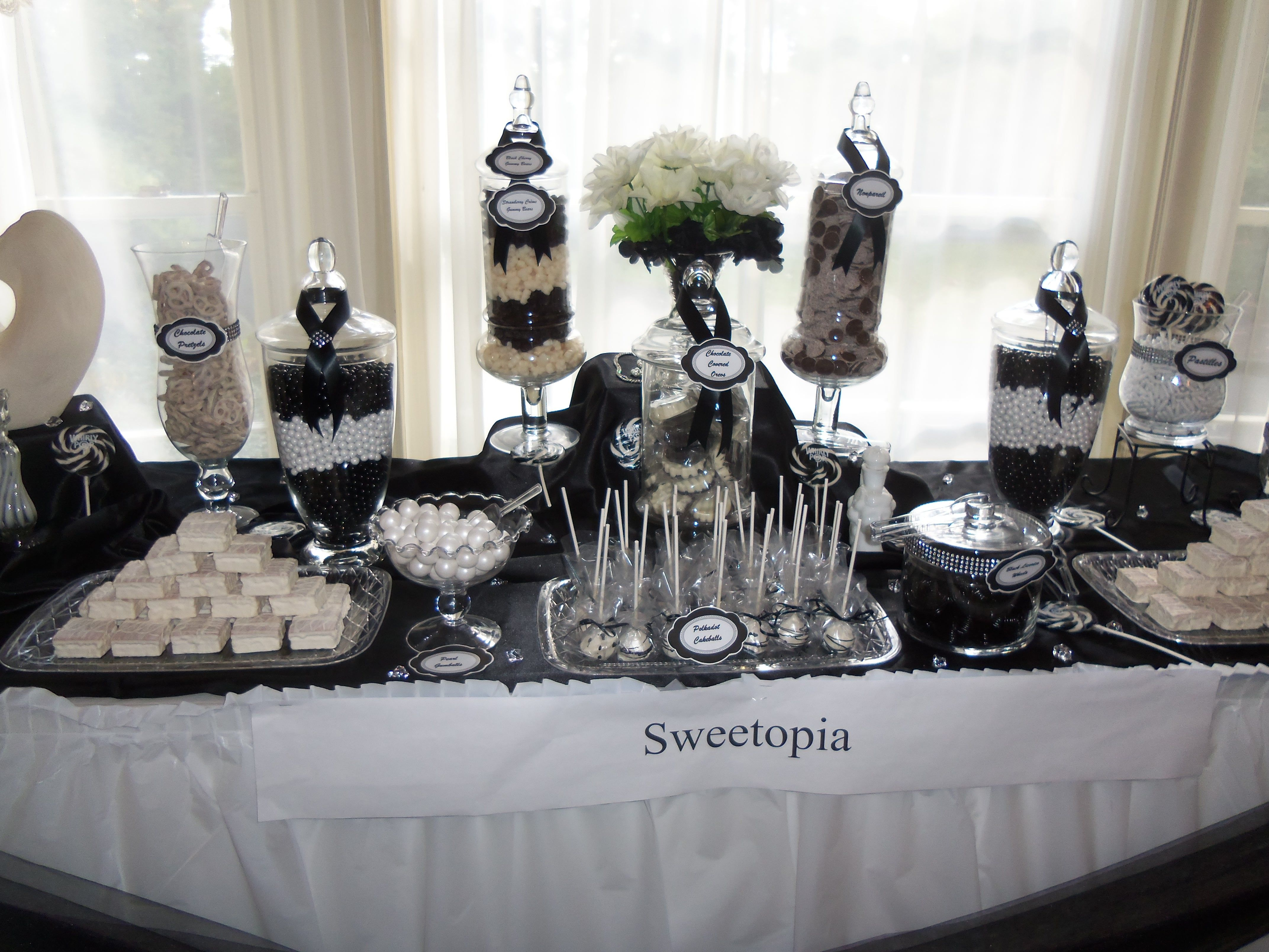 Elegant Black And White Candy Buffet | Wedding In 2019 Within Pink And White Geometric Buffets (Photo 11 of 30)