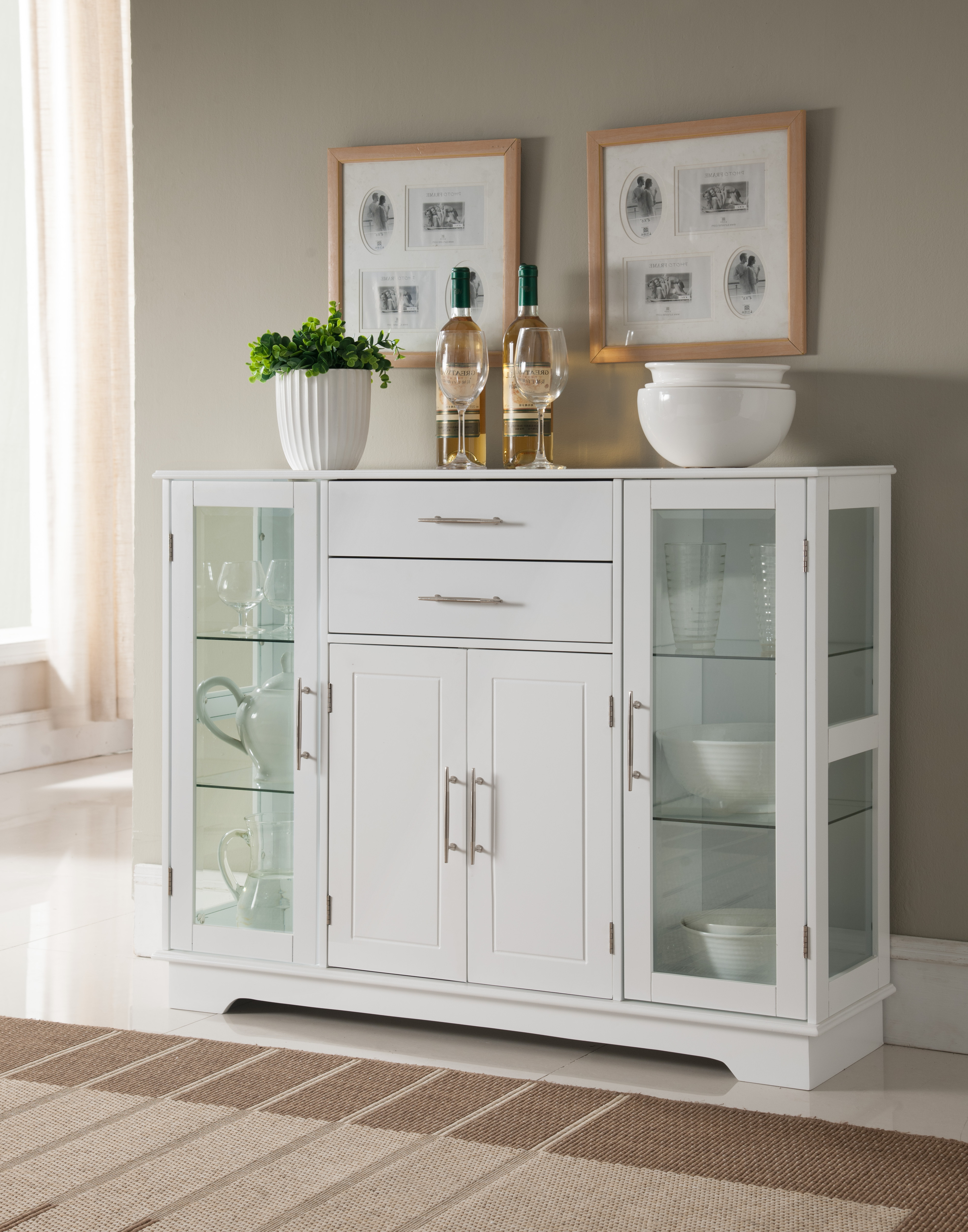 Elias White Wood Contemporary Kitchen Buffet Display China Cabinet With Storage Drawers & Glass Doors Pertaining To Contemporary Wooden Buffets With One Side Door Storage Cabinets And Two Drawers (View 11 of 30)