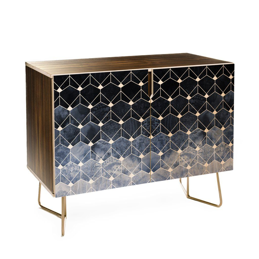 Elisabeth Fredriksson Blue Hexagons And Diamonds Credenza In Throughout Multi Colored Geometric Shapes Credenzas (Photo 15 of 30)