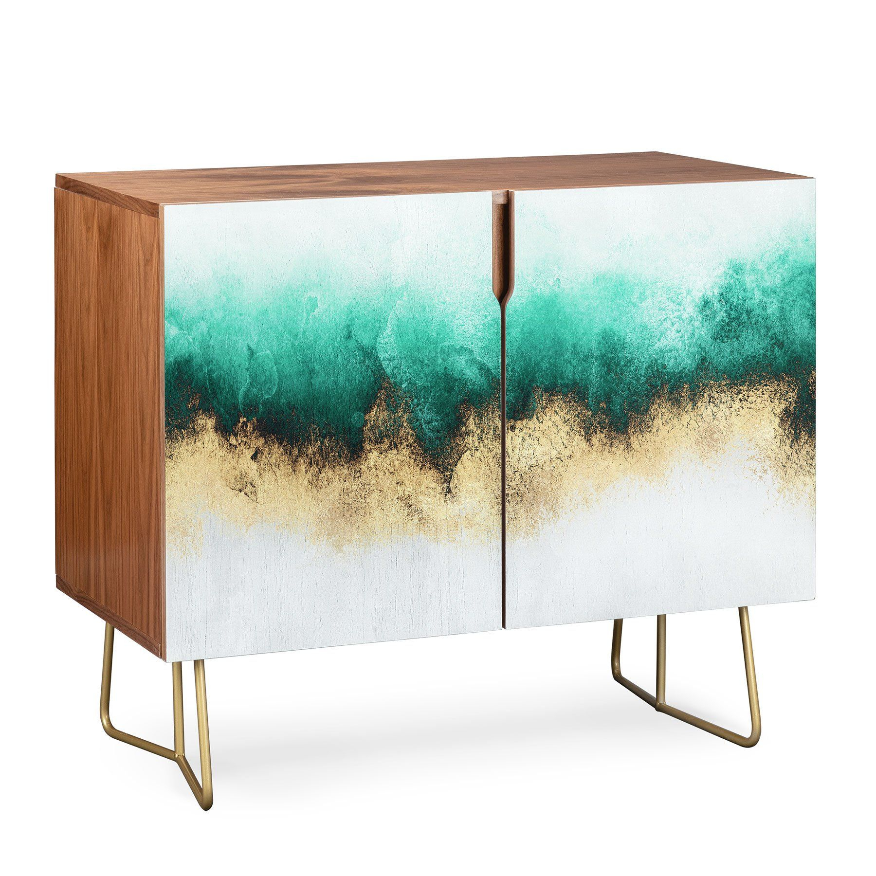 Elisabeth Fredriksson Green And Gold Sky Credenza In 2019 Regarding Turquoise Skies Credenzas (View 3 of 30)
