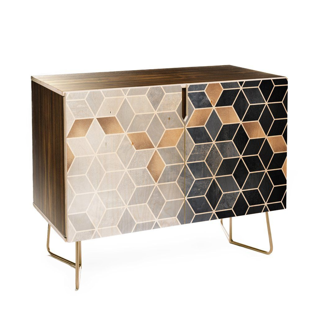 Elisabeth Fredriksson Soft Blue Gradient Cubes Credenza In Within Blue Hexagons And Diamonds Credenzas (Gallery 4 of 30)