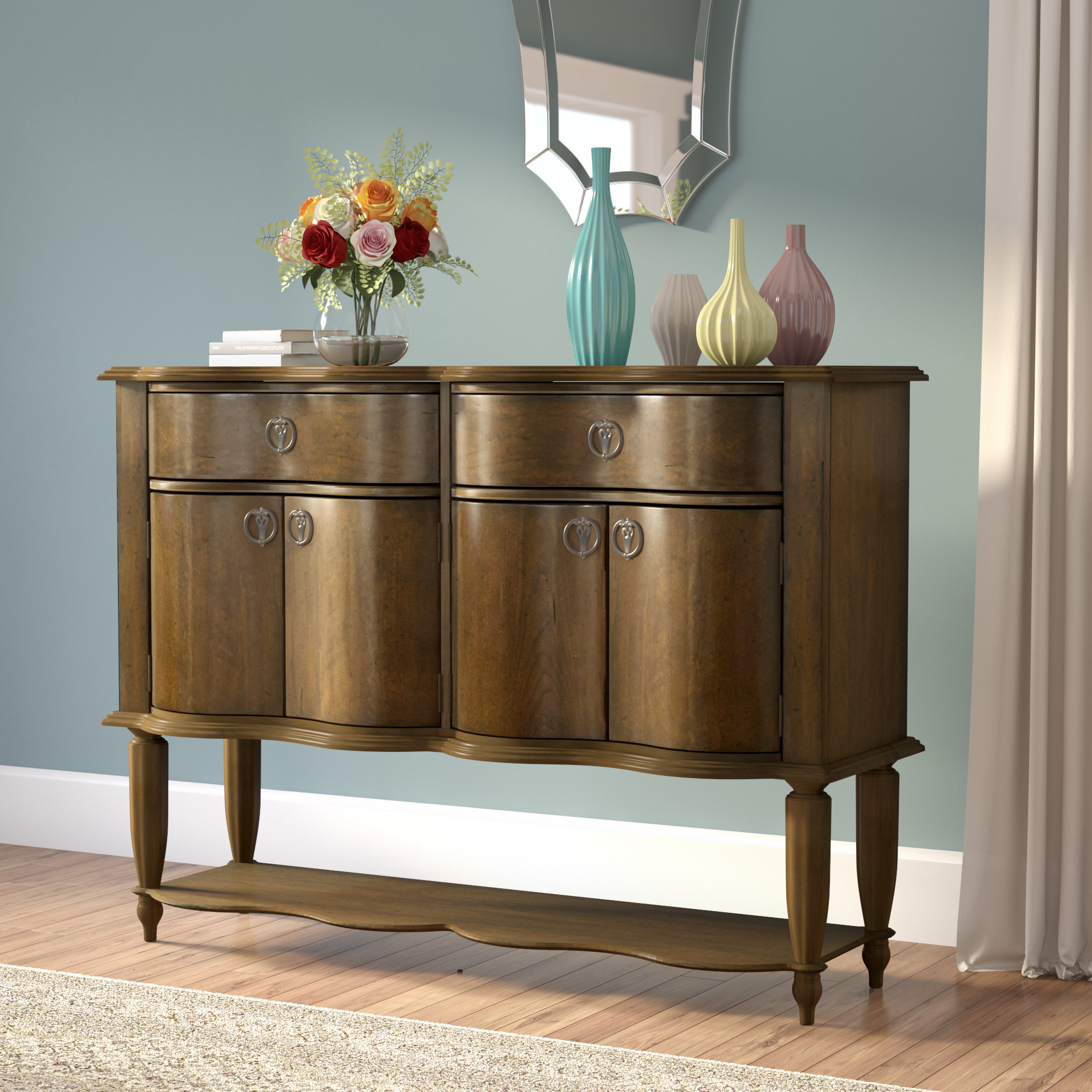 Elwood Key Buffet Table intended for Solid And Composite Wood Buffets In Cappuccino Finish (Image 5 of 30)