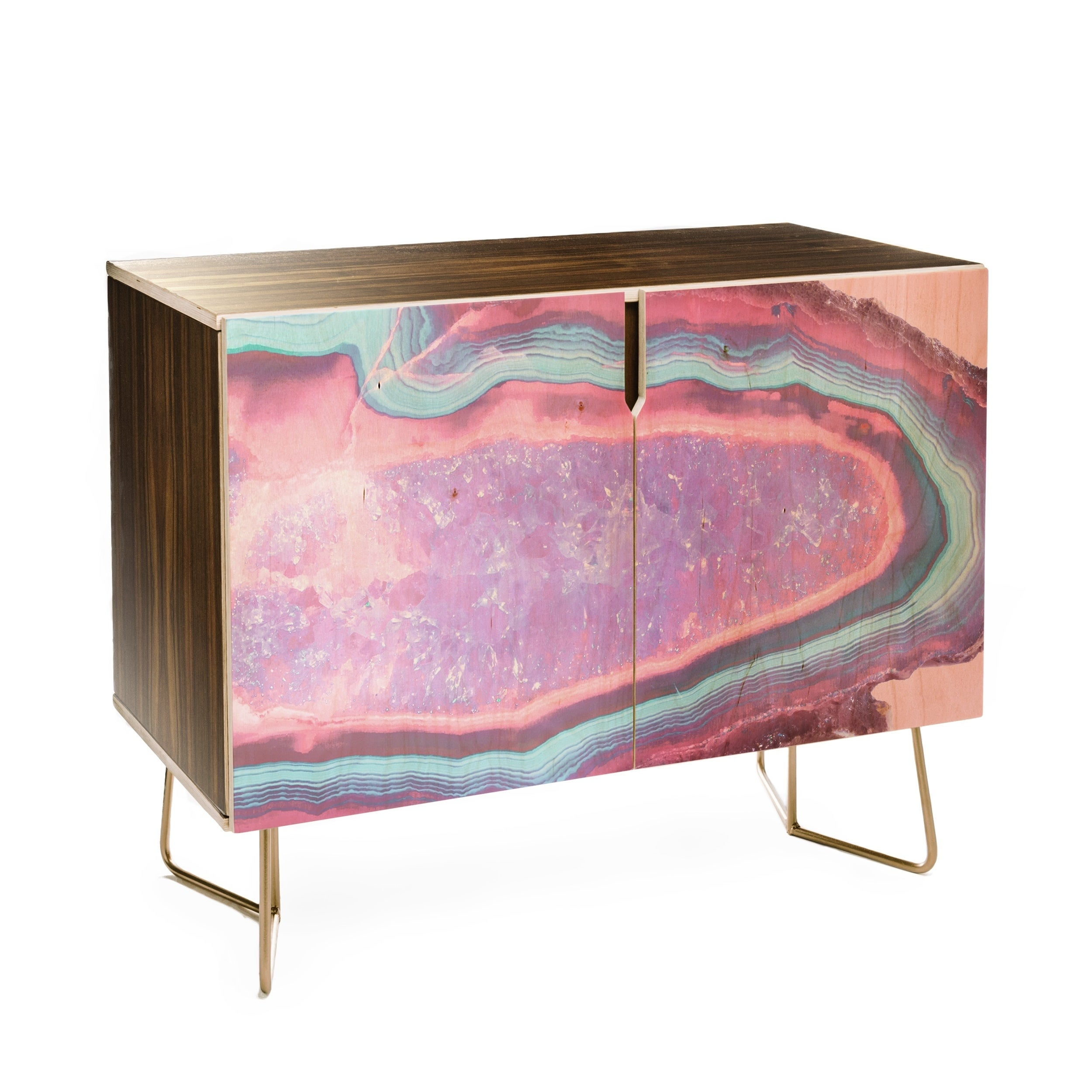 Emanuela Carratoni Serenity And Rose Agate With Amethyst Crystals Credenza In Pale Pink Agate Wood Credenzas (Photo 9 of 30)
