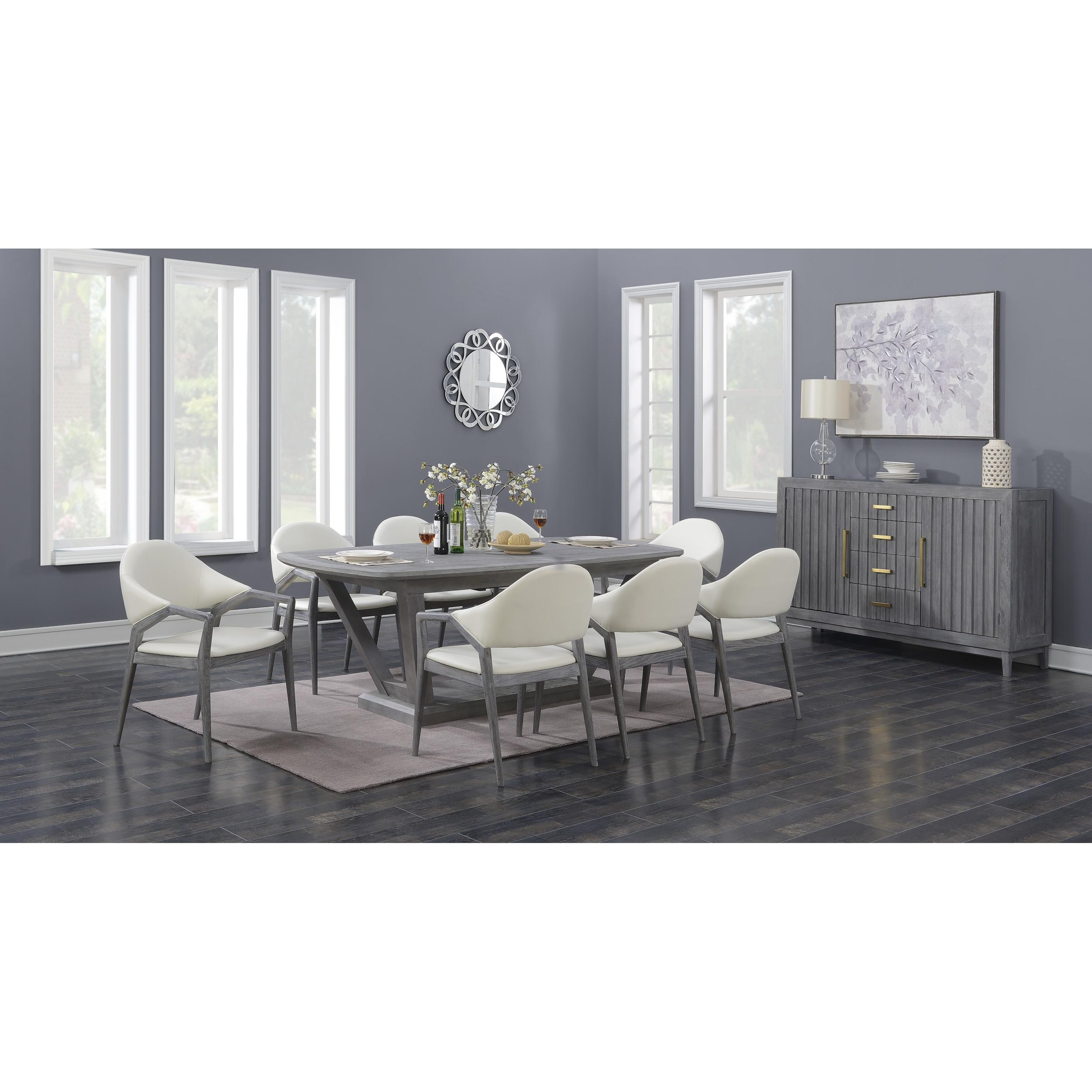 Emerald Home Carrera Gray Modern 7Pc Dining Room Set With Regard To Carrera Contemporary Black Dining Buffets (View 15 of 30)