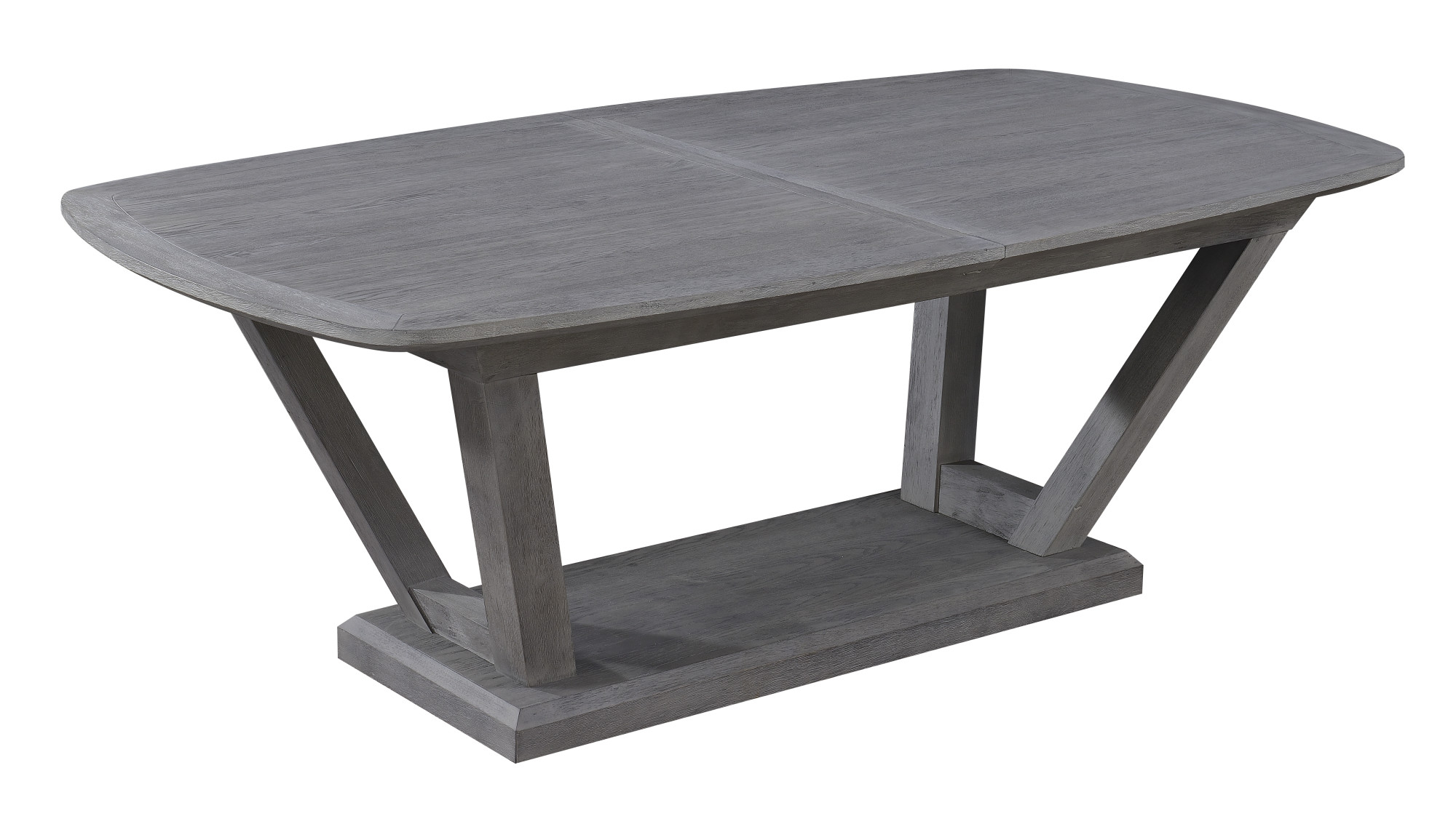 """Emerald Home Carrera Slate Gray 84"""" Dining Table With Self Storing Butterfly Leaf And Timber Vee Base With Regard To Carrera Contemporary Black Dining Buffets (View 19 of 30)"""