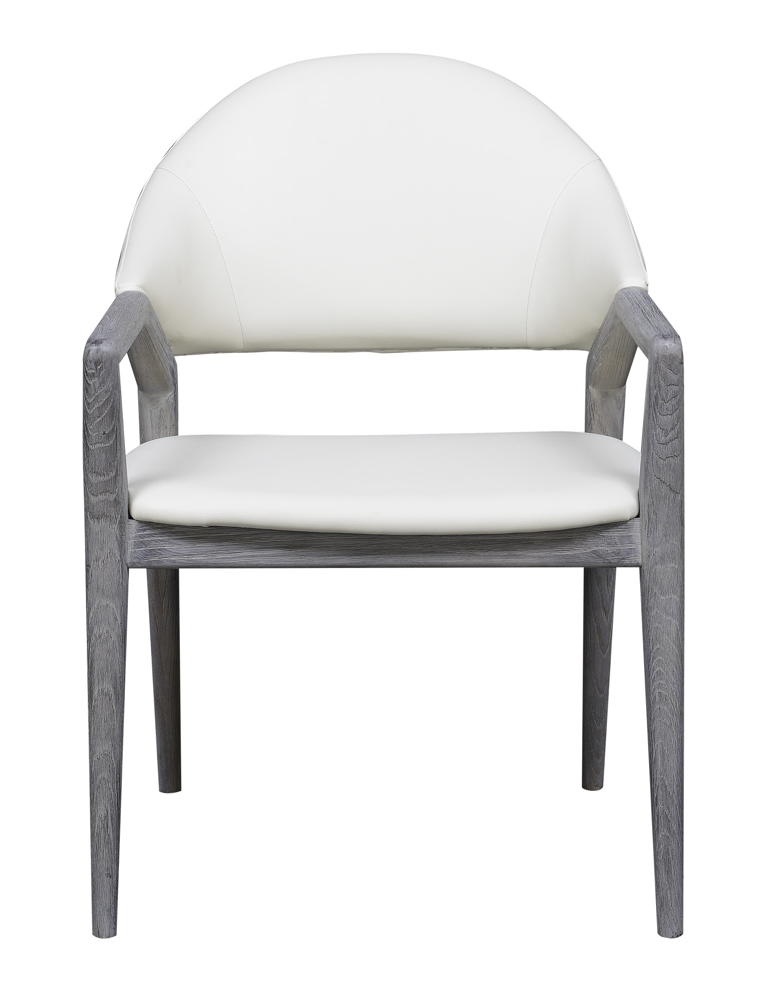 Emerald Home Carrera Slate Gray And Platinum White Dining Arm Chair With Faux Leather Upholstery And Curved Wood Frame For Carrera Contemporary Black Dining Buffets (View 20 of 30)
