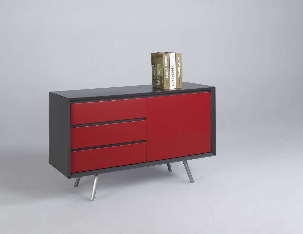 Esther Modern Grey Red Wood Buffet W/ Stainless Steel Legs In Modern Red Buffets (View 3 of 30)