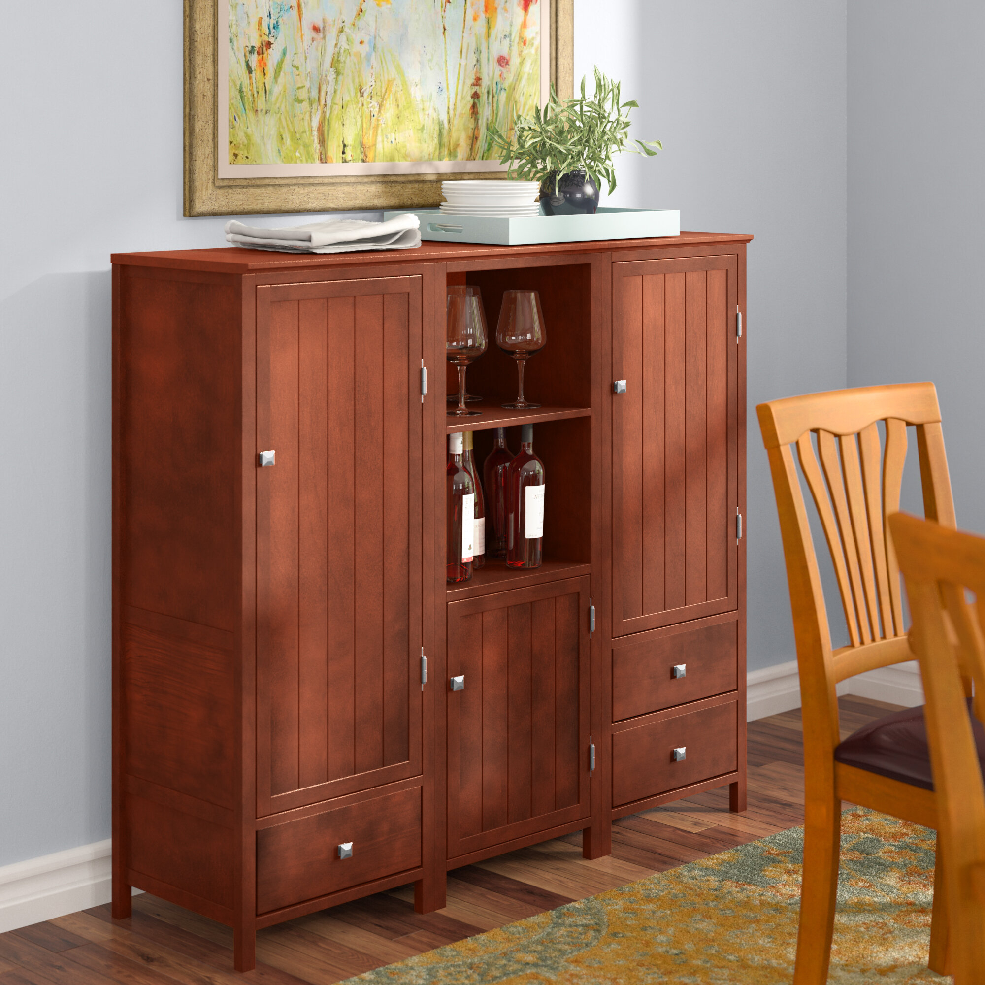 Extra Long Buffet Cabinet | Wayfair In Contemporary Style Wooden Buffets With Two Side Door Storage Cabinets (View 12 of 30)