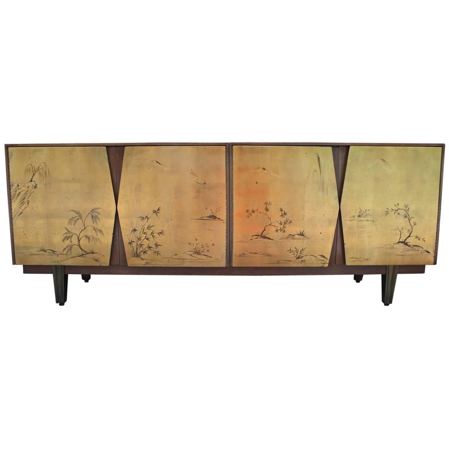 Fabulous Two Tone Gold Leaf Sideboard With Asian Motifs In Stephen Credenzas (View 12 of 30)