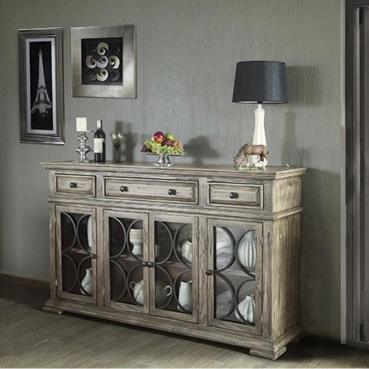 Fallridge Bonanza Buffet Console In Off White Antiqued inside Senda Credenzas (Image 8 of 30)