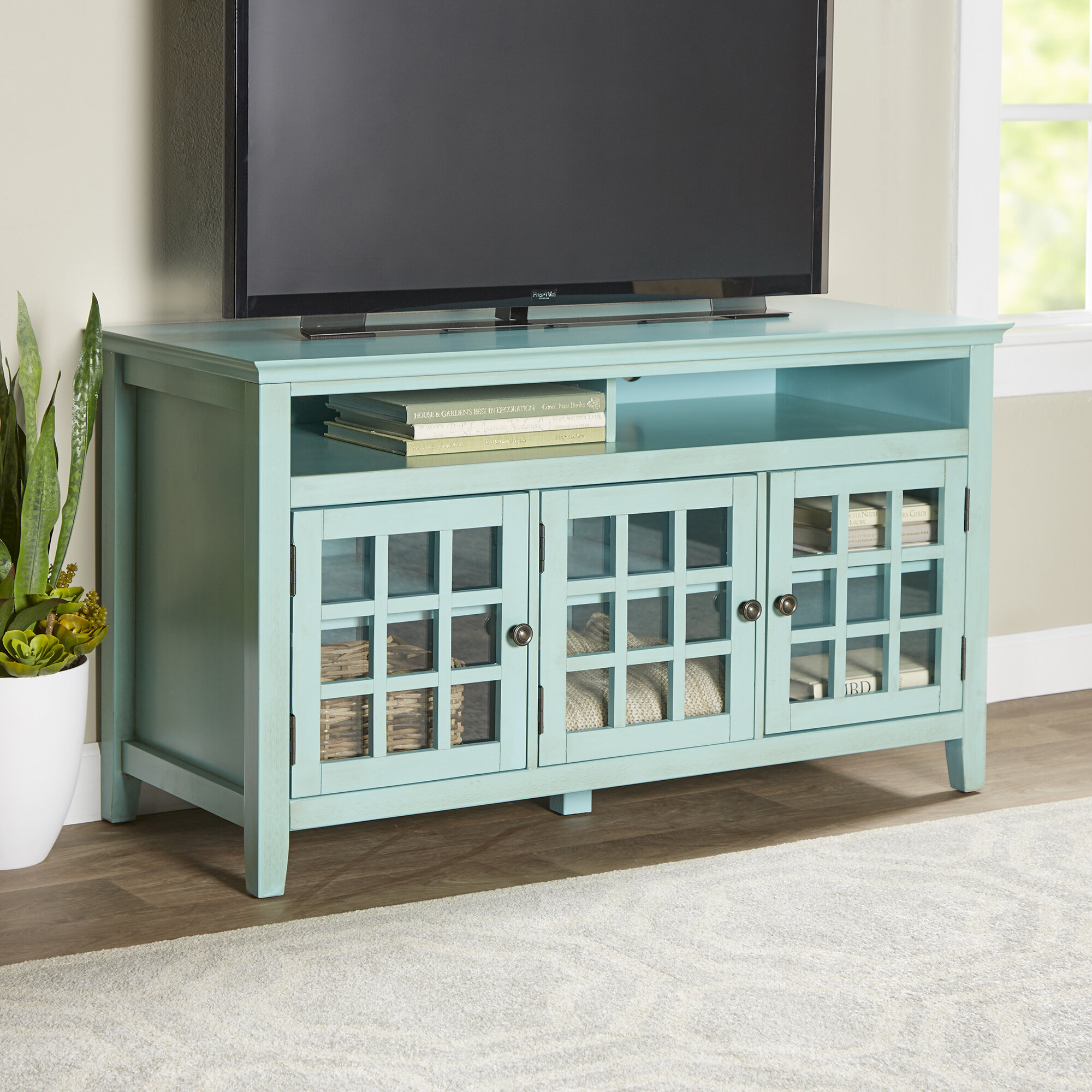 "Farmhouse & Rustic Blue Tv Stands | Birch Lane throughout Colefax Vintage Tv Stands for Tvs Up to 78"" (Image 19 of 30)"