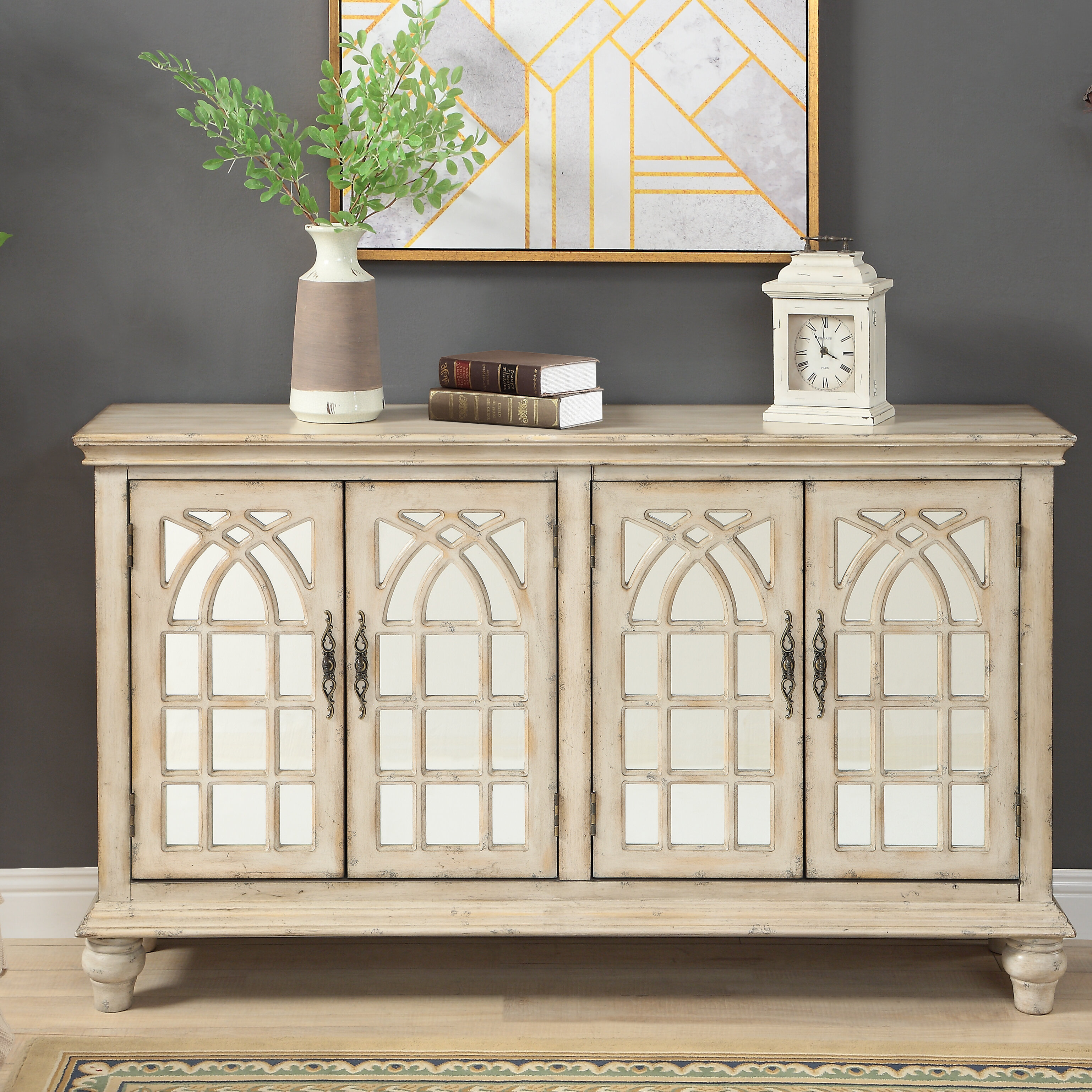 Farmhouse & Rustic One Allium Way Sideboards & Buffets For Serafino Media Credenzas (View 10 of 30)