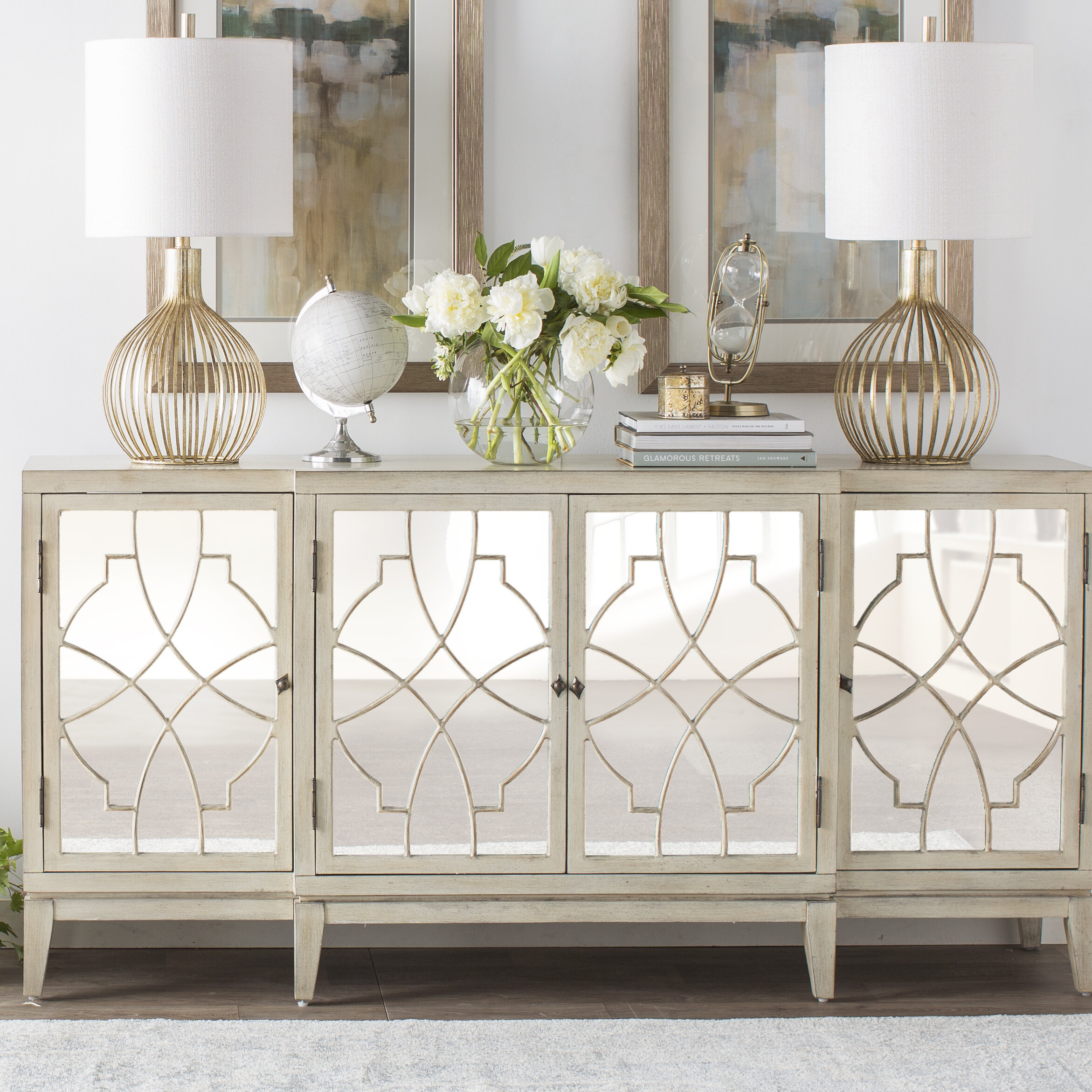 Farmhouse & Rustic One Allium Way Sideboards & Buffets Within Serafino Media Credenzas (View 11 of 30)