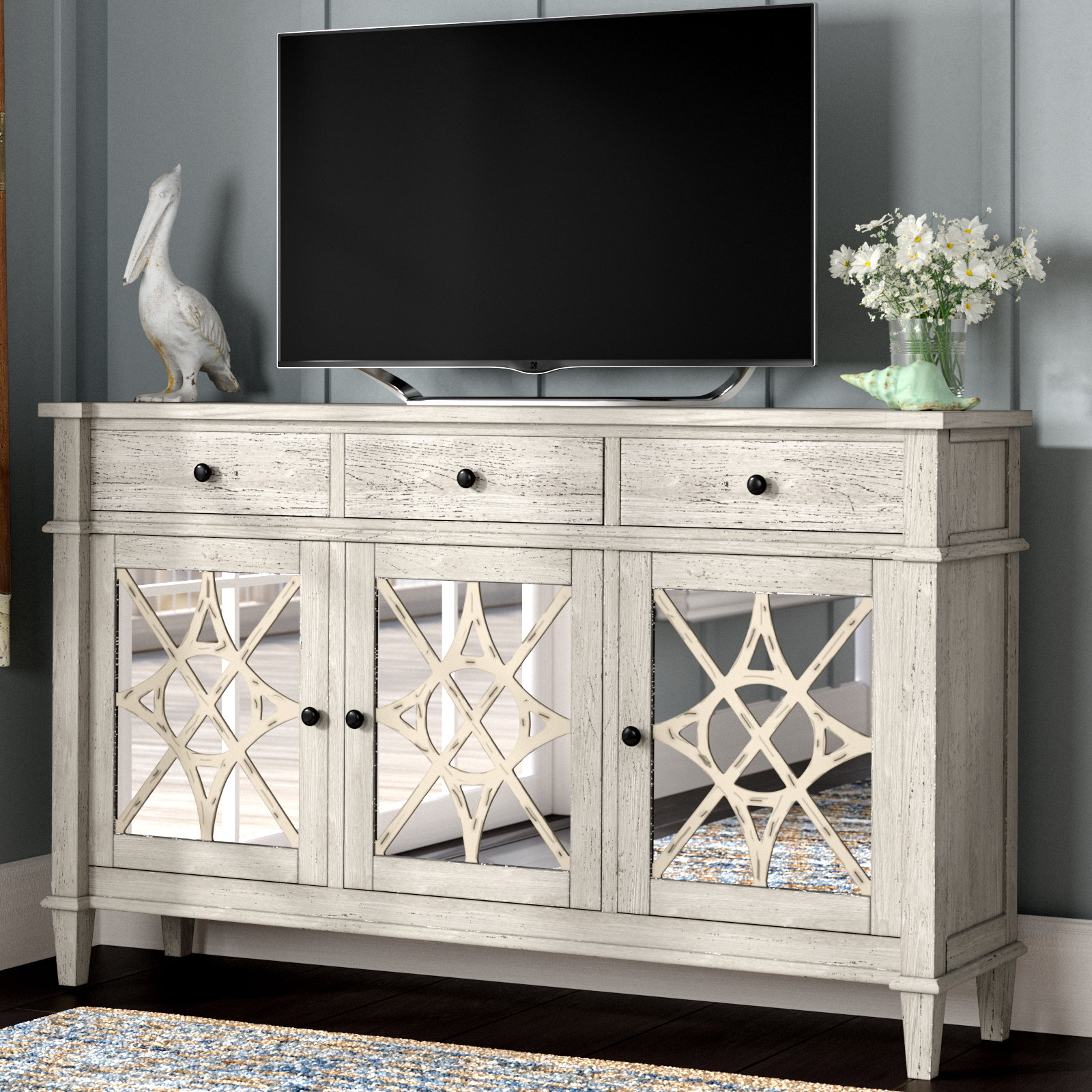 "Farmhouse & Rustic Rosecliff Heights Tv Stands | Birch Lane inside Colefax Vintage Tv Stands for Tvs Up to 78"" (Image 22 of 30)"