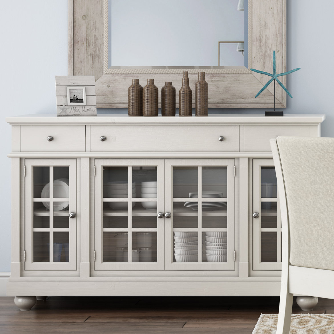Farmhouse & Rustic Sideboards & Buffets | Birch Lane Intended For Wooden Buffets With Two Side Door Storage Cabinets And Stemware Rack (View 23 of 30)