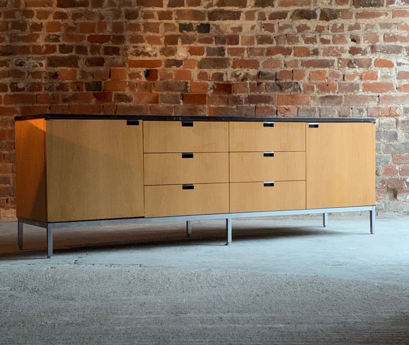 Florence Knoll Credenza Sideboard Oak Nero Marquina Shiny Marble Mid Century Within Ocean Marble Credenzas (View 12 of 30)