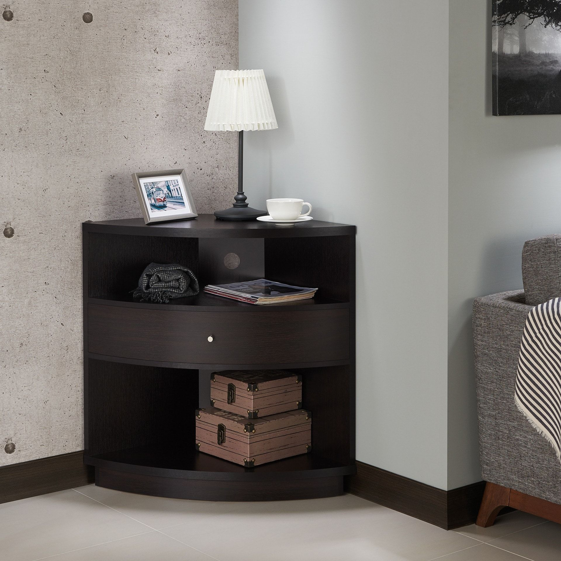 Furniture Of America Aishe Contemporary Multi Shelf Corner In Contemporary Cappuccino Buffets (View 9 of 30)