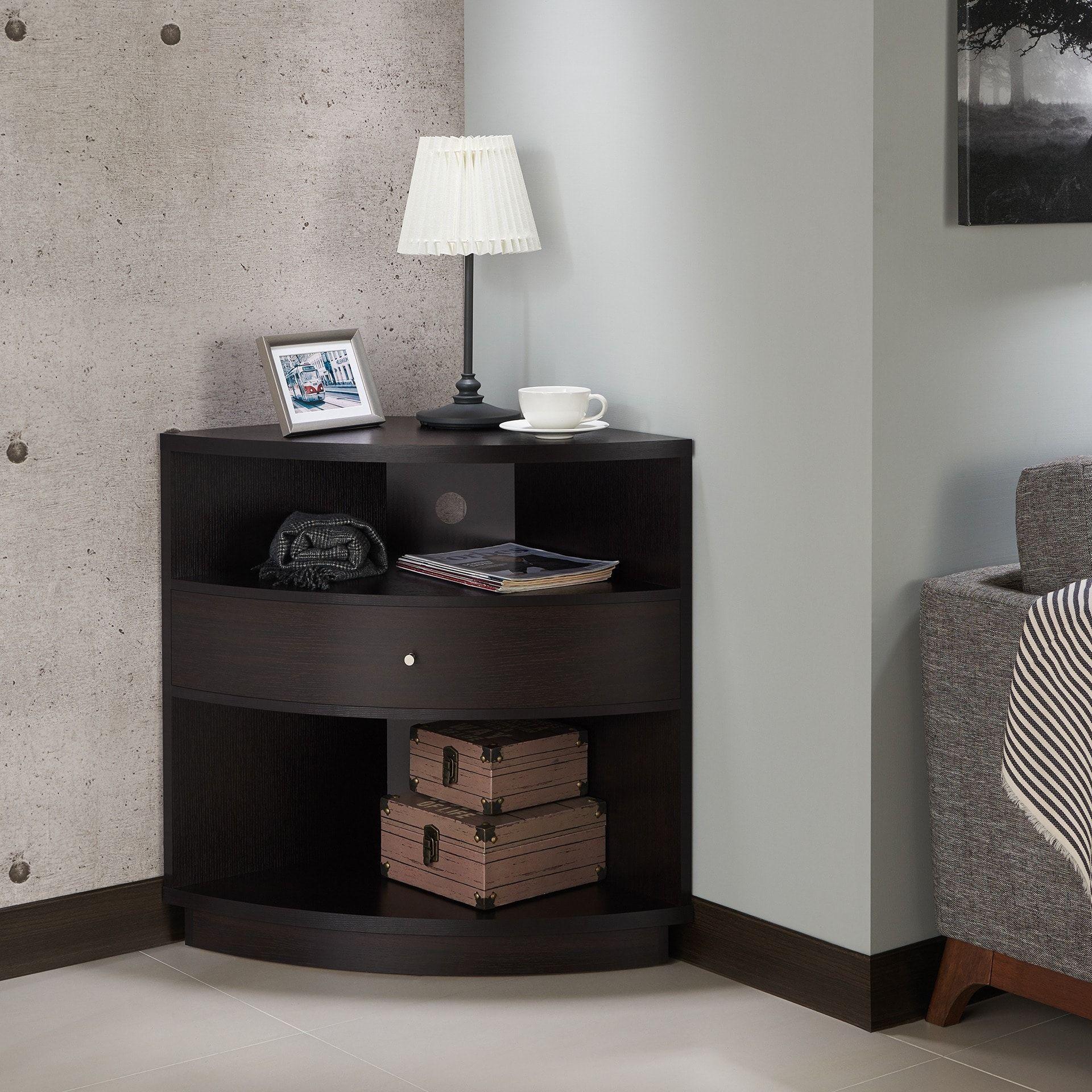 Furniture Of America Aishe Contemporary Multi Shelf Corner Throughout Multi Shelf Corner Buffets (View 3 of 30)